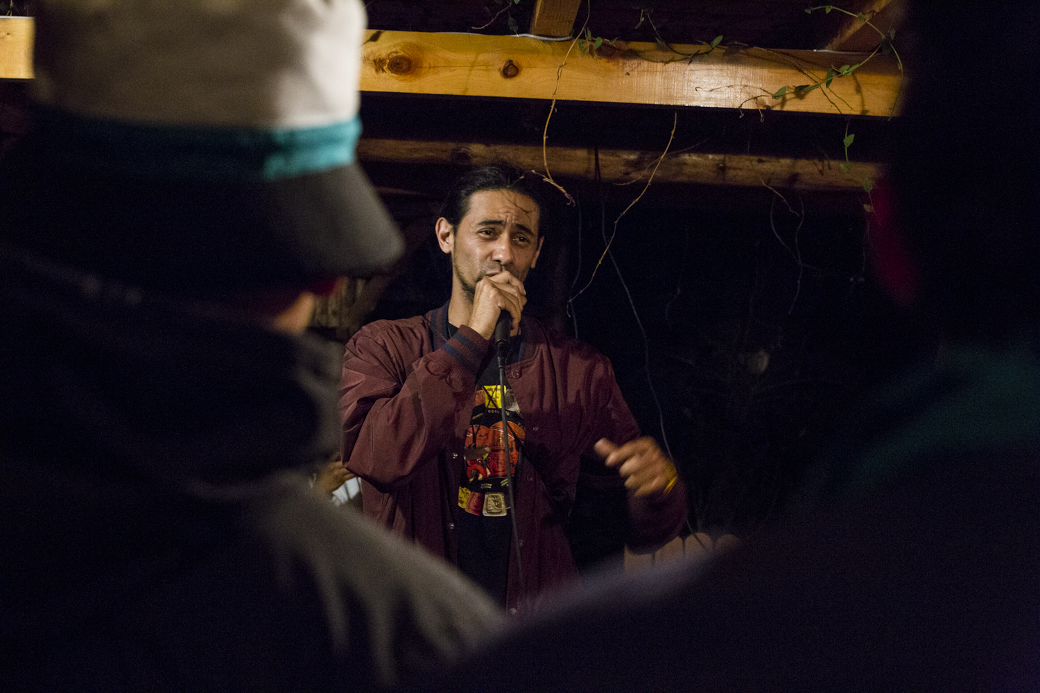 M.C.H.E. 37, raps during a freestyle seesion hosted by his group Balam Ajpu and Next Level Initiative in San Marcos La Laguna, Lake Atitlán, on November 26, 2018.