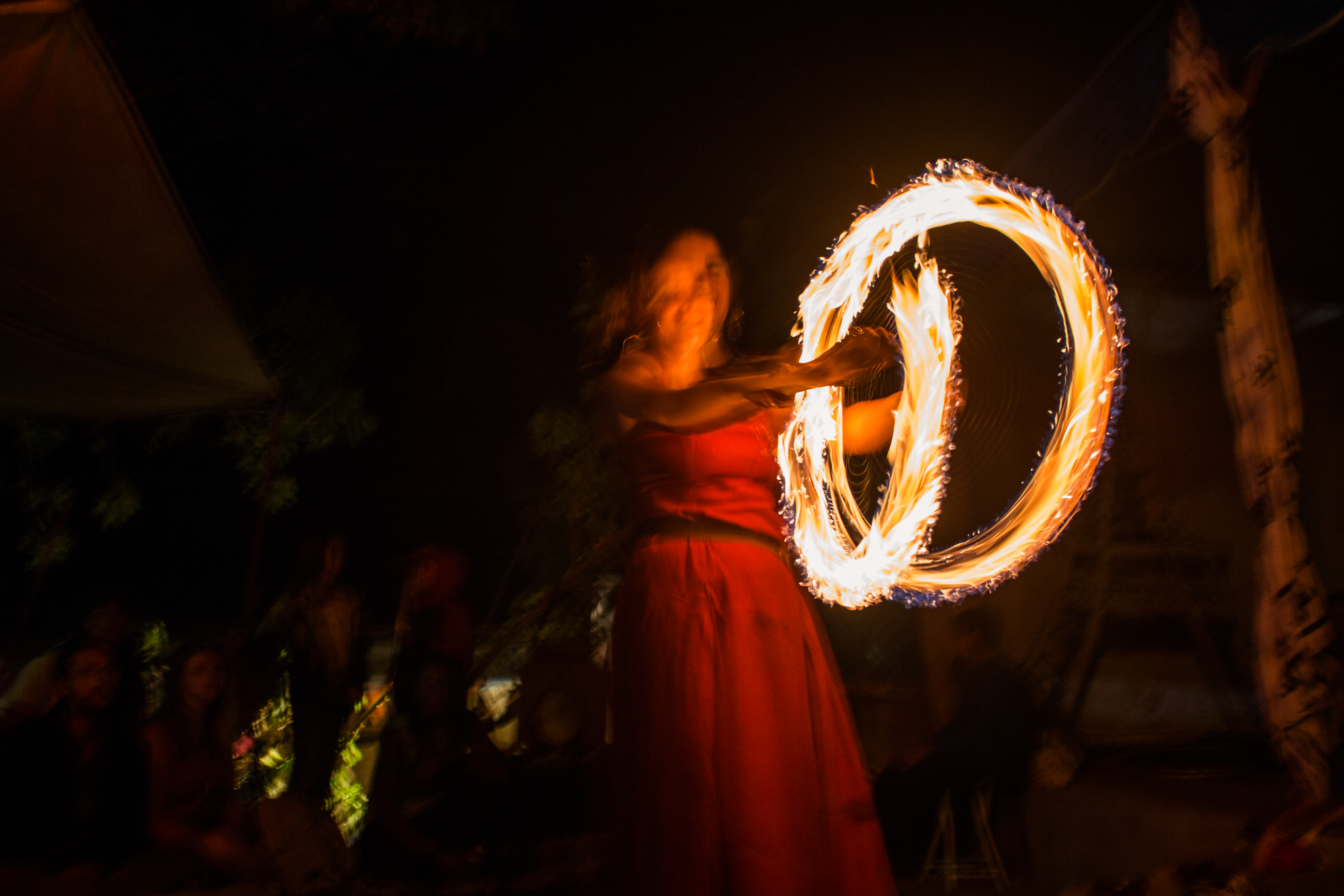 Fire spinning at the Harvest Festival in San Marcos, La Laguna, Guatemala.