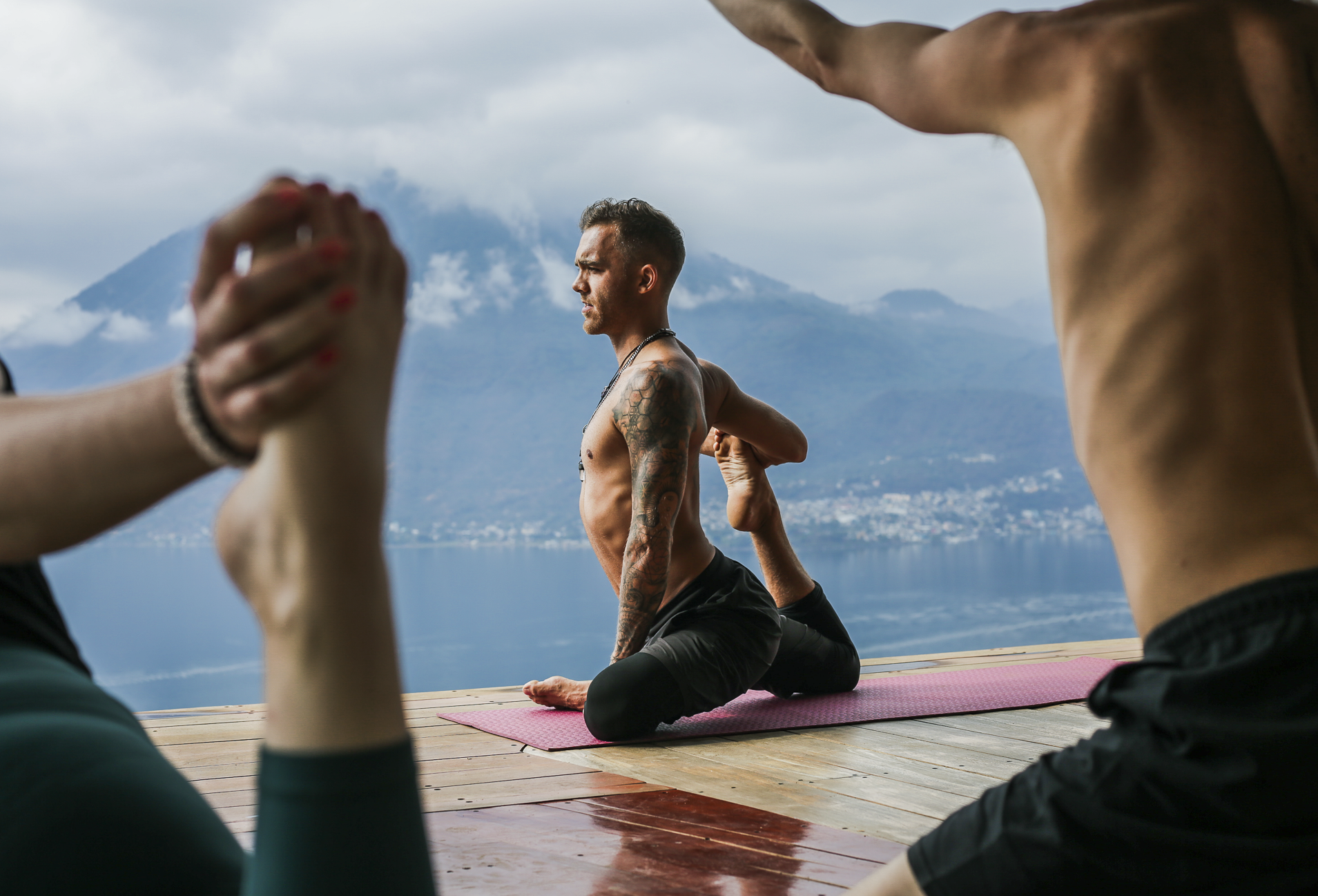 Perry Finley teaches a yoga class at Eagle's Nest in San Marcos La Laguna, Guatemala. Finley is not only a yoga instructor but also a DJ, marketer for festivals and full-time digital nomad.