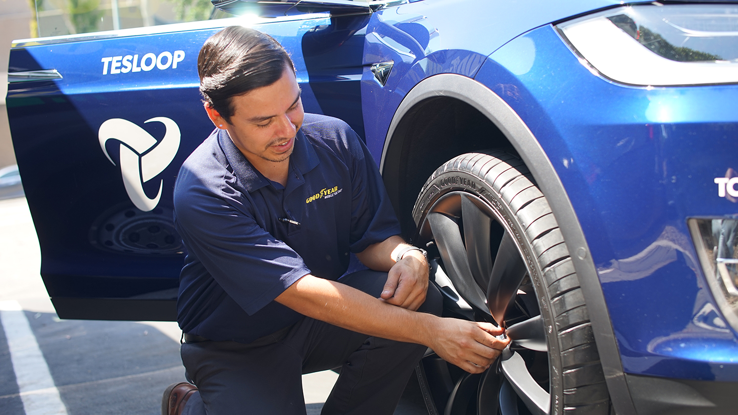 Goodyear will be providing tire maintenance and repair while Tesloop vehicles are at charging stations