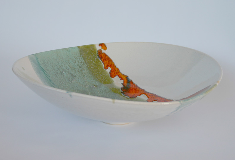 Asymmetric bowl, white with turquoise, green and orange
