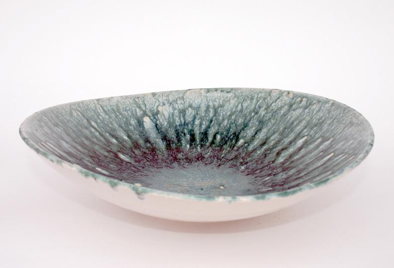 Asymmetric Bowl; thick turquoise over white glaze