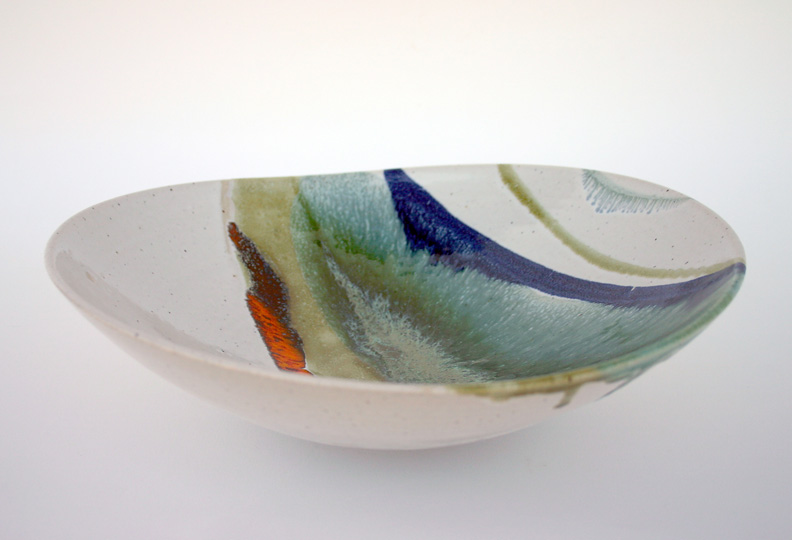 Asymmetric bowl, white with blue, turquoise, green and orange
