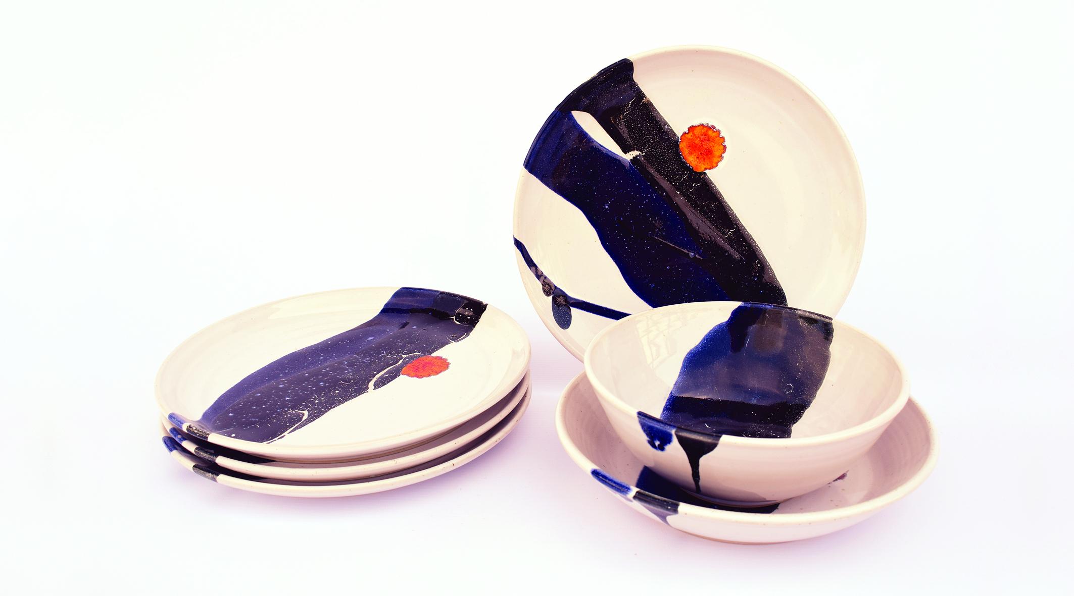 Blue and Black Splash with Orange Dot