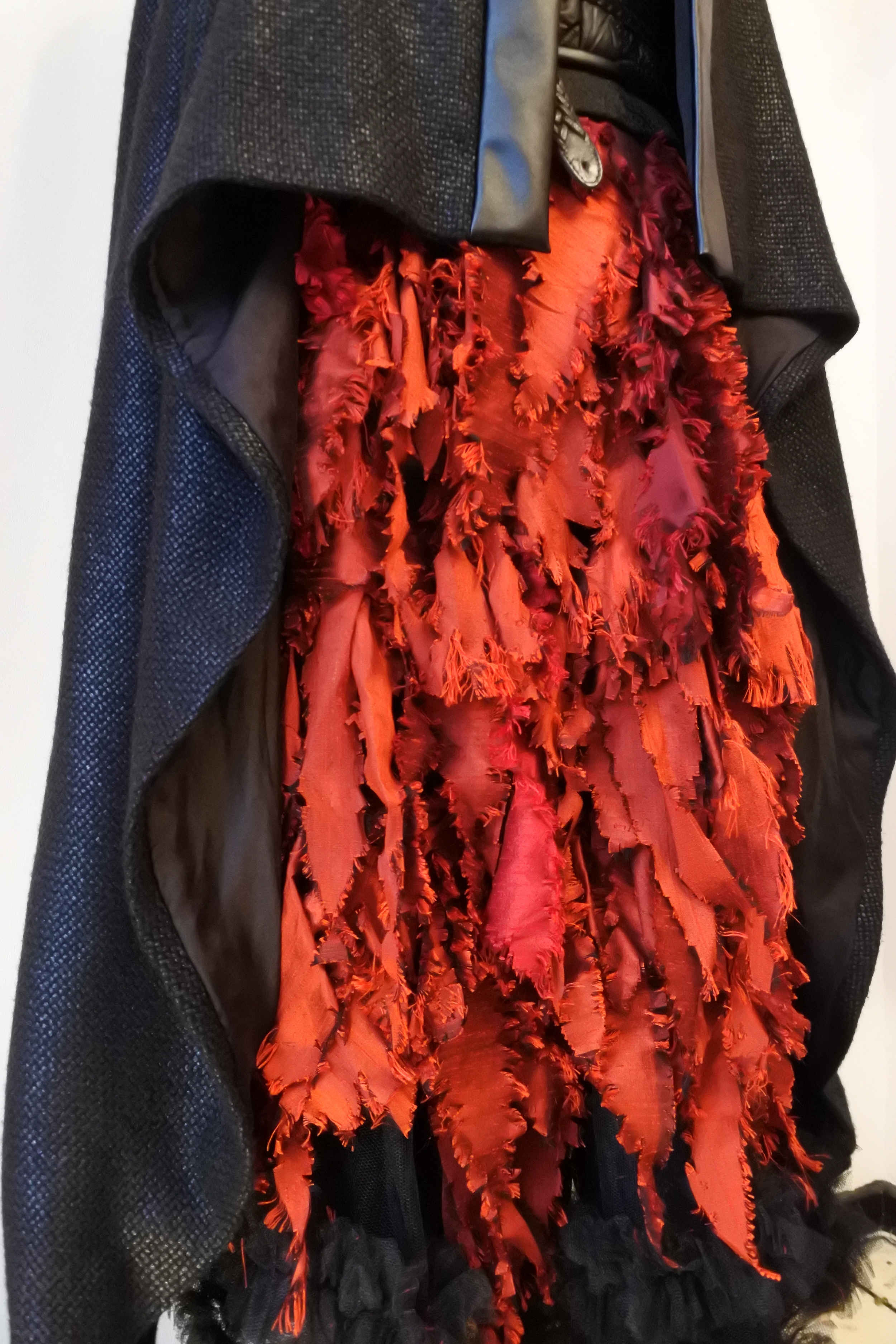 Shredded silk taffeta skirt