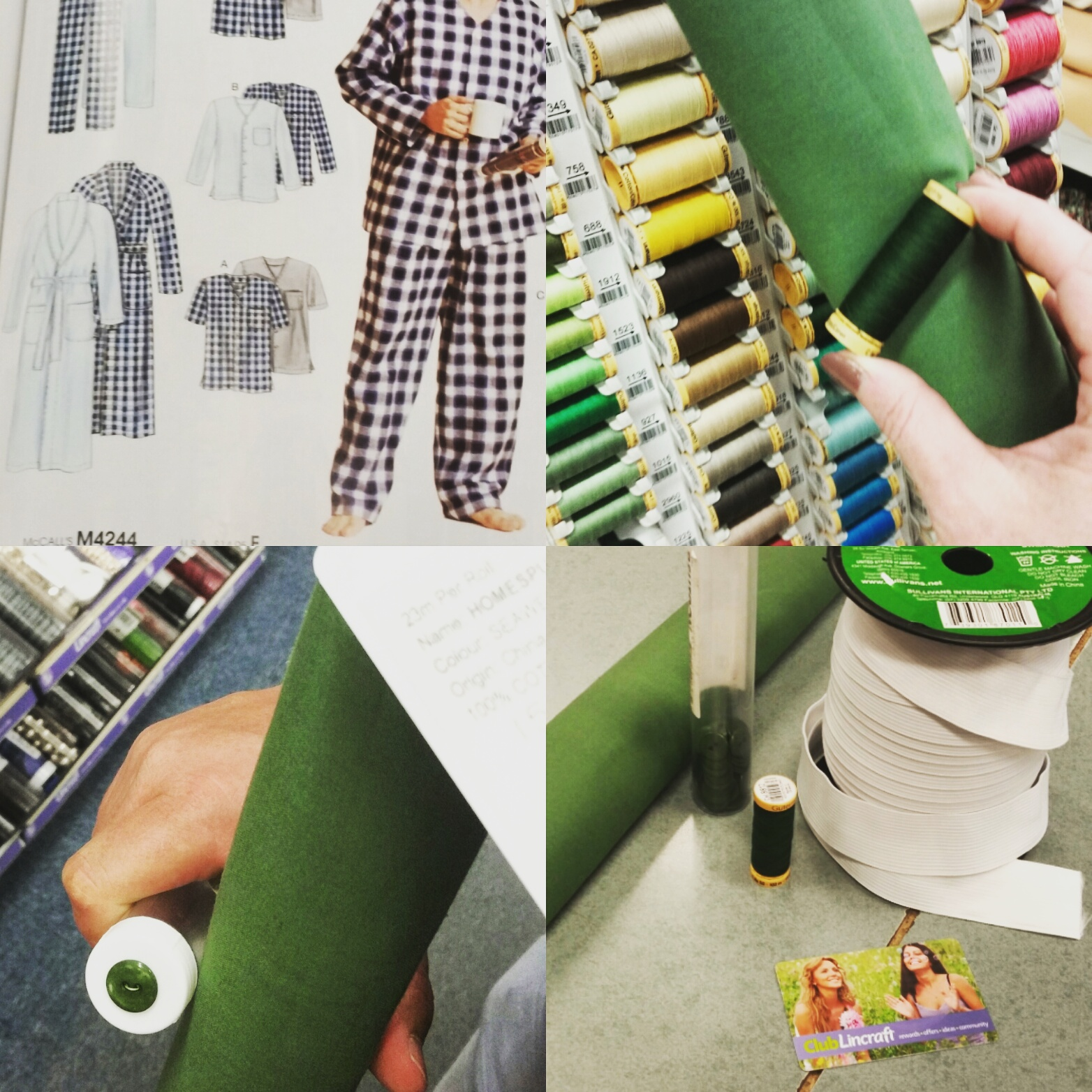 Choosing the pattern, thread, button and fabric.