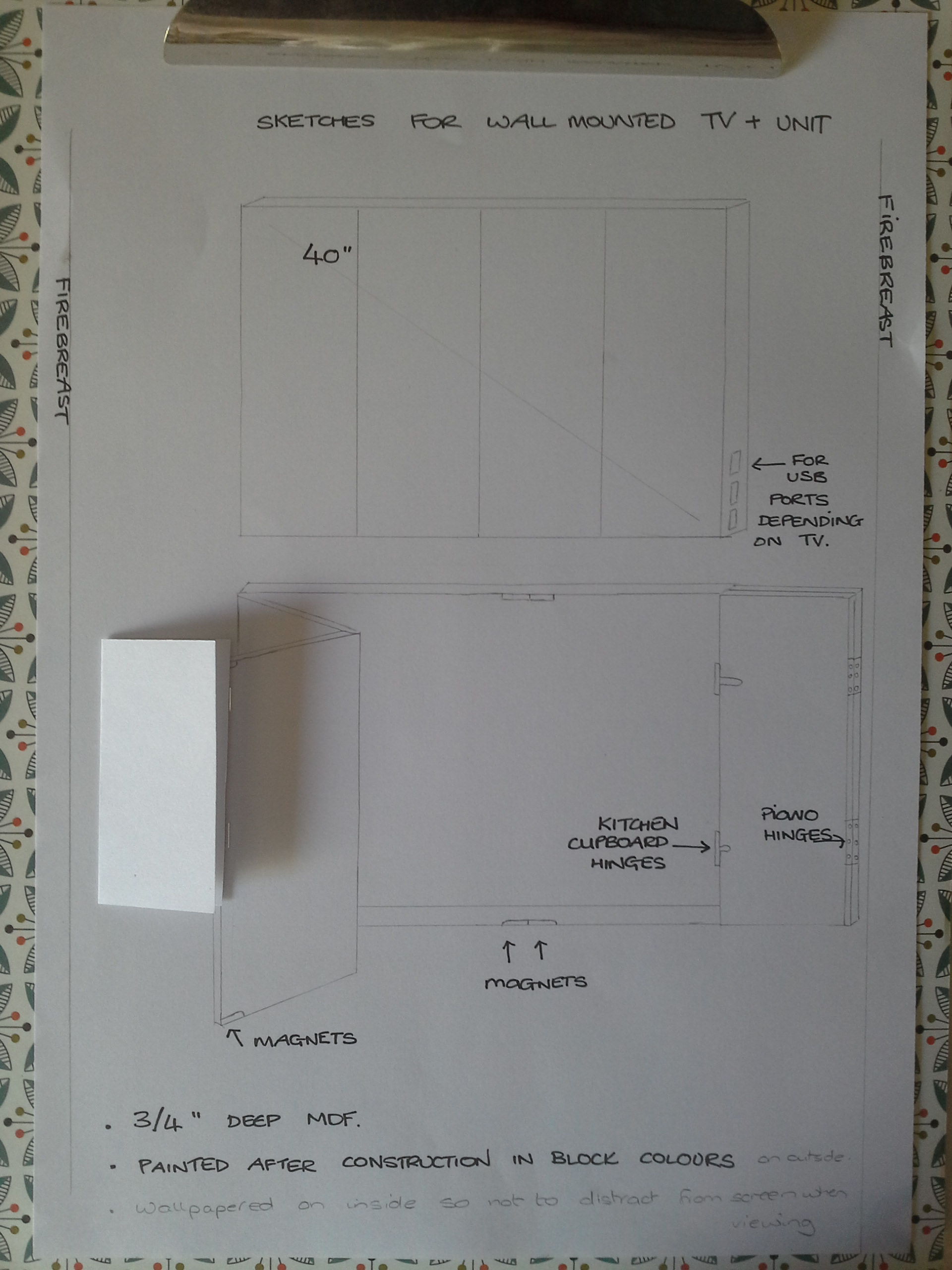 Working drawing for TV unit