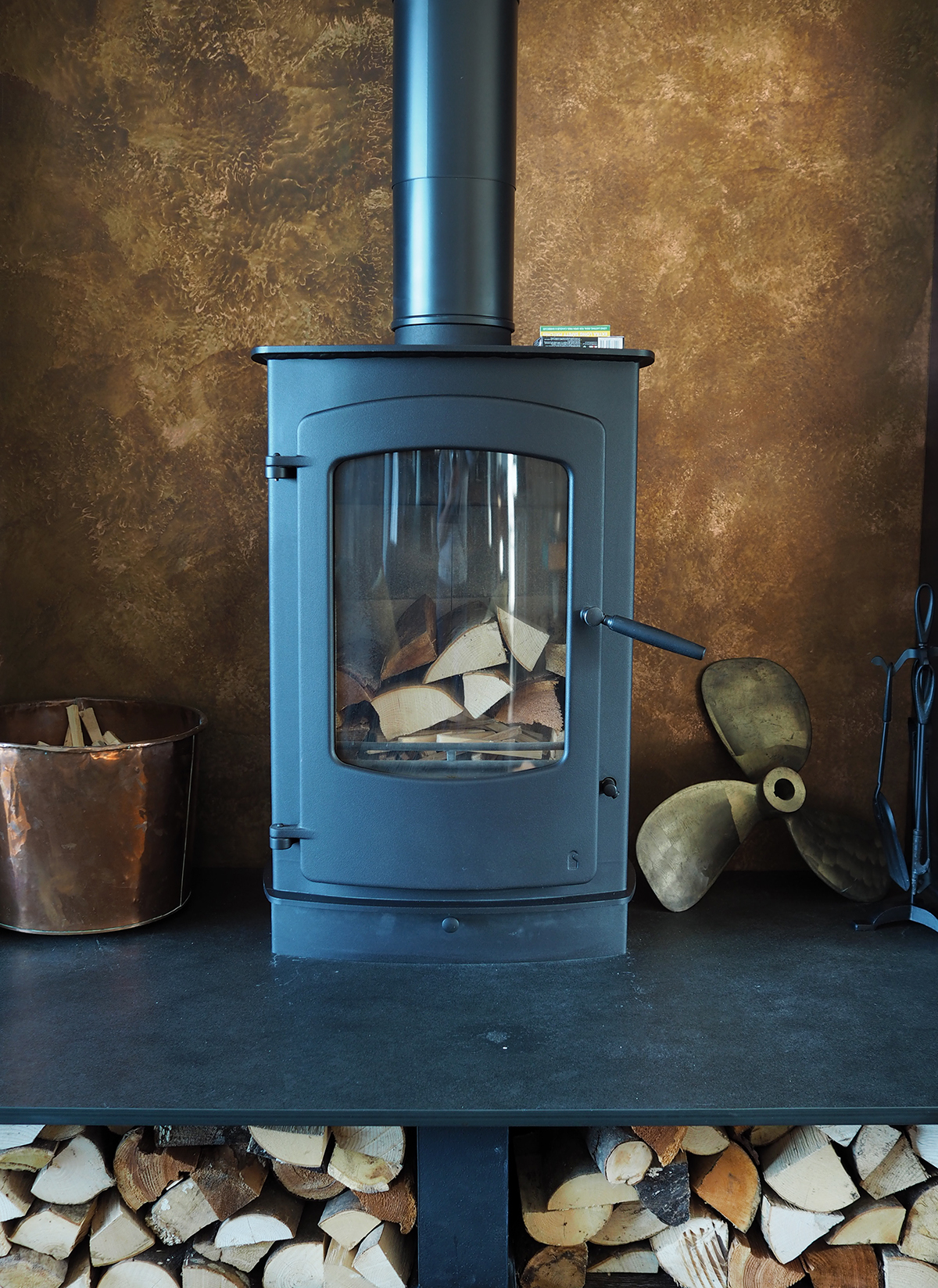 copper cladding and woodburner