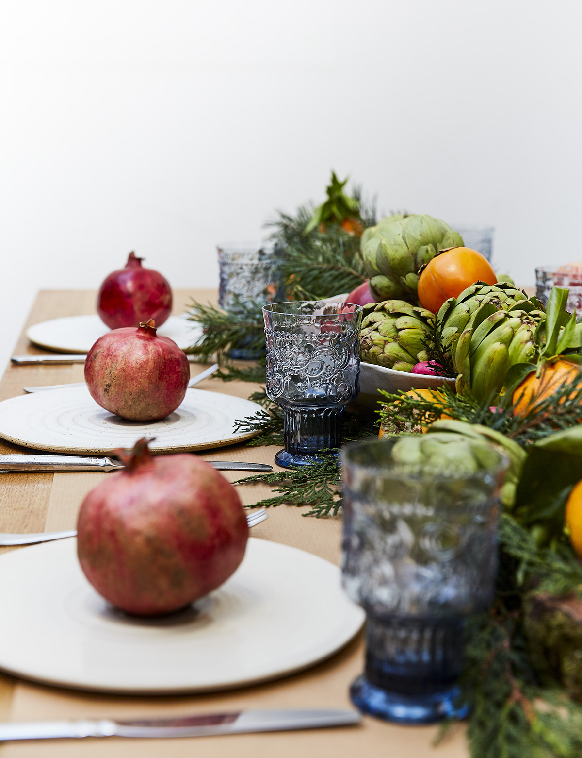 Colourful Christmas table using fresh produce