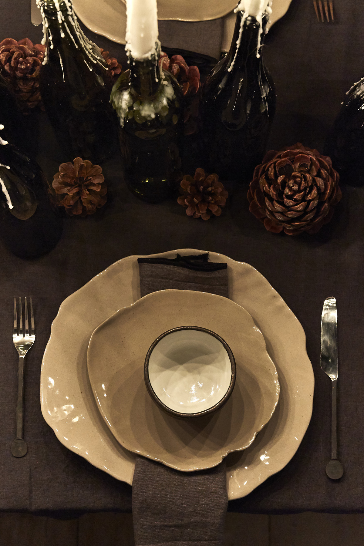dark and moody Christmas table idea