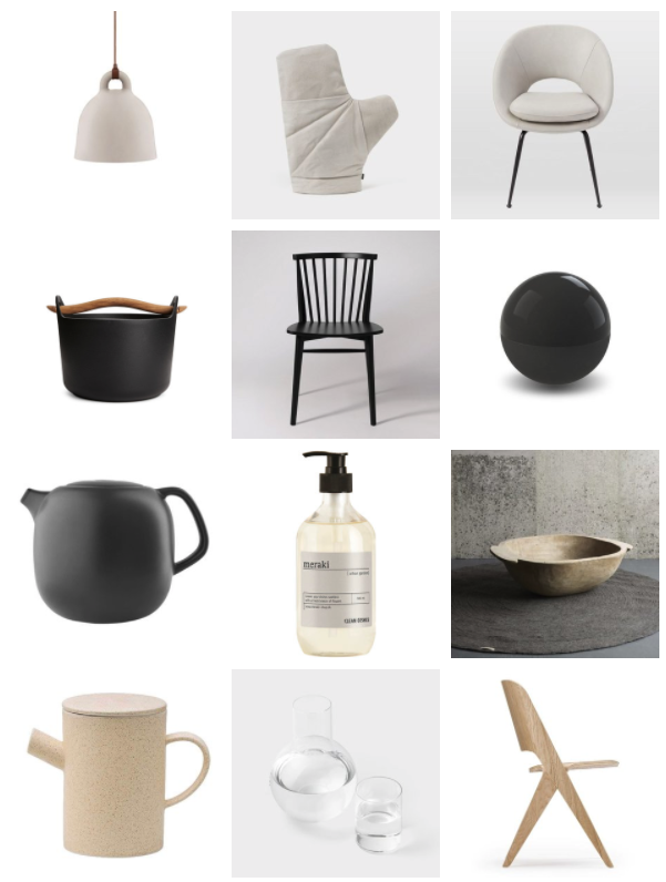 Bell Lamp in Sand by Normann Copenhagen ,£164 (on sale) - Made in Design /  Jobu Oven Mitt , $60 - Ode to Things,  Orb Leather Dining Chair , £319 (on sale) - West Elm,  Sarpaneva Cast Iron Pot , £185 - Iittala,  Robin Chair , £249 for two - Swoon Editions,  Bonbonniere 12cm Black , approx £18 - Cooee Design,  Nordic Kitchen Teapot by Eva Solo ,£45 - Made in Design /  Urban Garden Dishwash 500ml by Meraki , £13 - Design Vintage /  Large Vintage Dough Bowl , £85 - Design Vintage,  Simple Sand Ceramic Teapot by Bloomingville , £16 - Trouva /  Bedside Carafe , $190 - Anna Karlin,  Lavitta Chair by Poiat , £371 - Finnish Design Shop