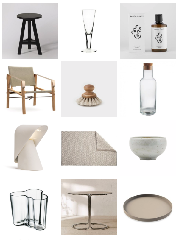 Aida Kitchen Stool,  £59 - Swoon Editions,  Glass For Champagne , €13.75 - Tine K Home,  Organic Bergamot Juniper Shampoo , £12 -Austin Austin,  Nomad Chair by We Do Wood , £645 -  LOVEThESIGN  /  Pan/Vegetable Brush by Iris Hantverk , £18 - Trouva /  Bardane Clear carafe 1L , £10.50 (on sale) - Habitat,  K Lamp in Earthenware , £220 - Vitamin,  Vilnia Rug in Sand by Jurate ,€99 - Eporta /  Ivory Ceramic Small Bowl by House Doctor , £6.95 - Trouva /  Aalto Vase Savoy Clear 95mm by Iittala , £48 - Connox /  Avery Bistro Table , £90 (on sale) - Urban Outfitters,  Tray Circle in Sand , approx £38 - Cooee Design
