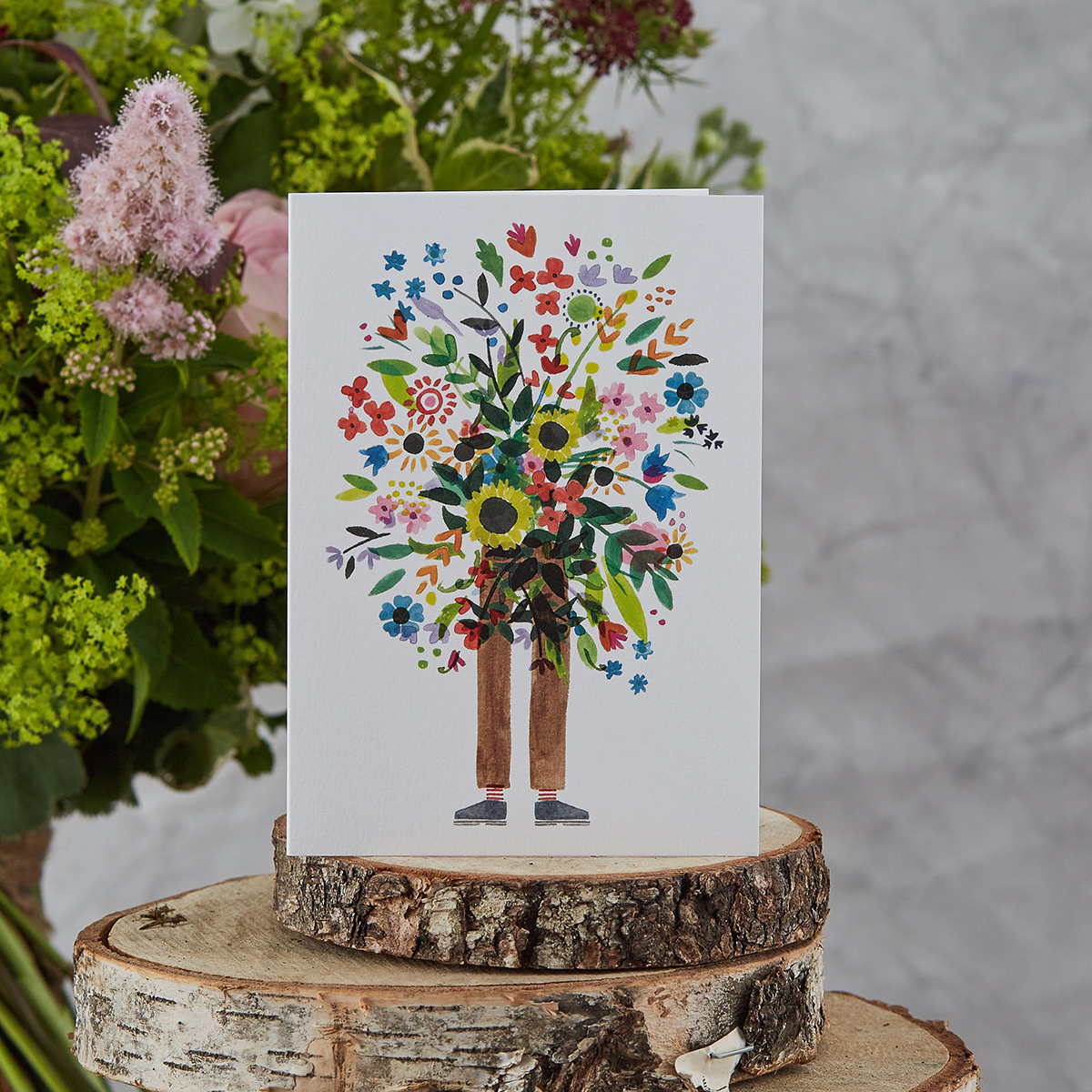 Bouquet Man Card,  Botanique Workshop , £3.50   A pretty card that says it all.