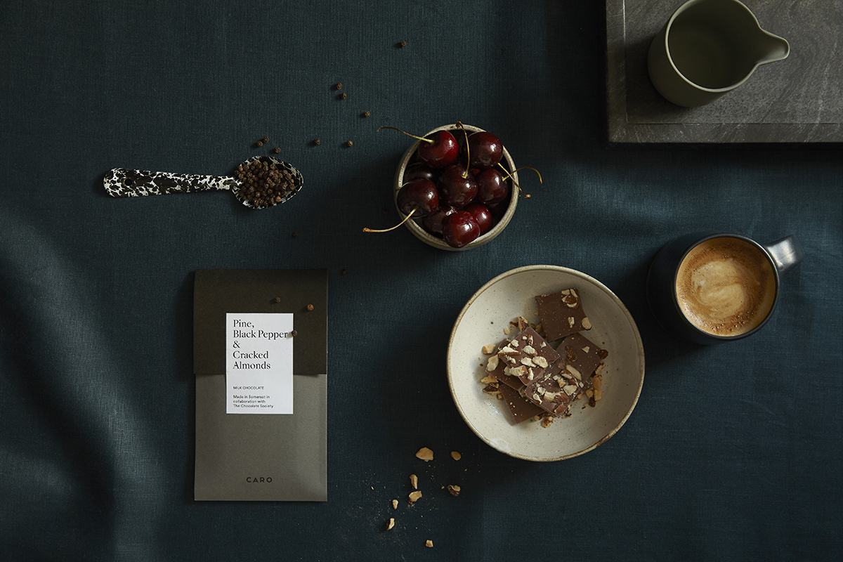 Juniper and Raspberry Dark Chocolate Bar by Caro,  Caro Somerset , £6.50   Caro has partnered with award-winning chocolatiers, The Chocolate Society, to create chocolate bars inspired by the countryside.