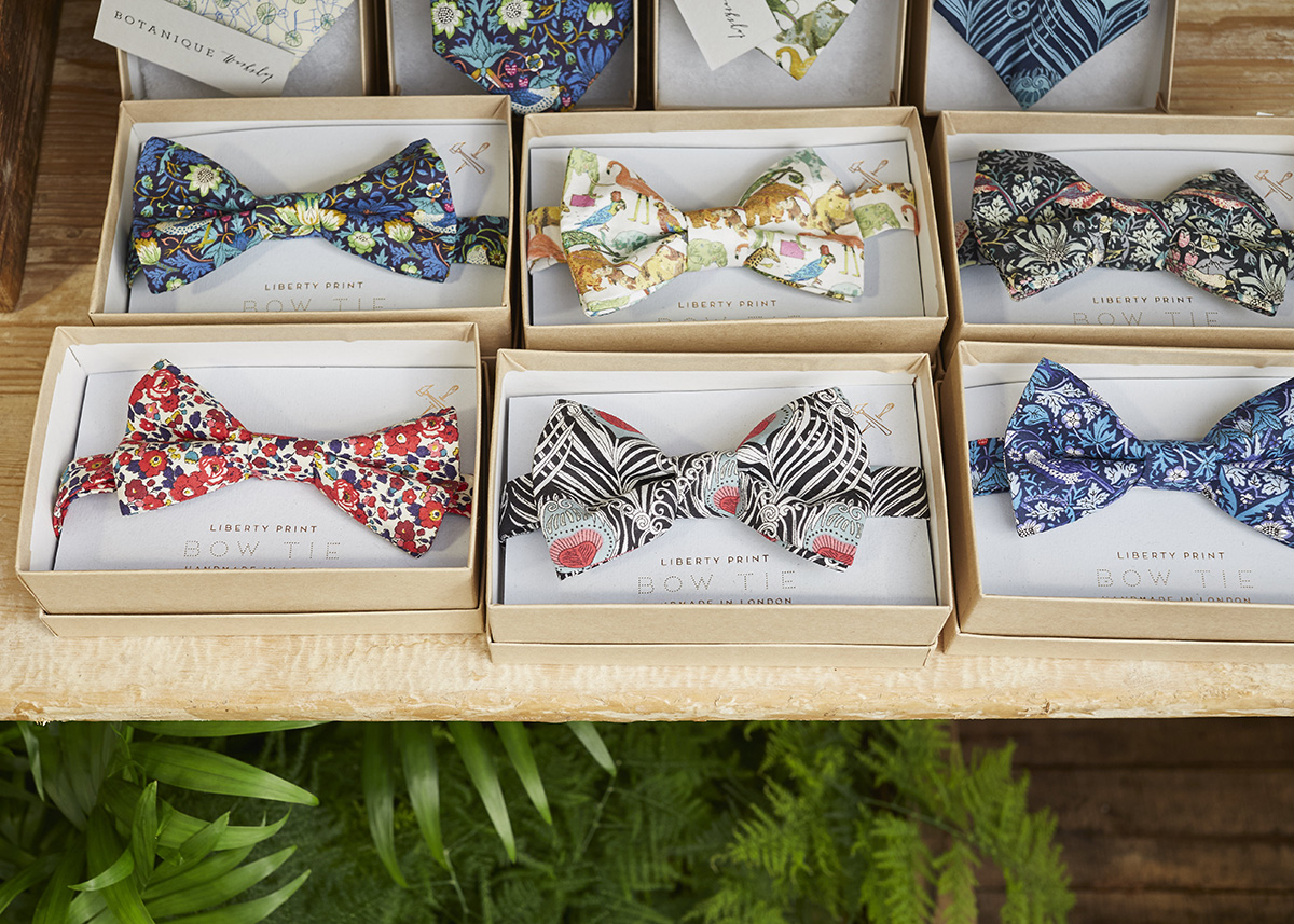 Liberty Print Bow Tie,  Botanique Workshop , £29   Made from Liberty print fabric, these bow ties are available in three different prints and will add style and colour to any dapper gent's outfit. You can also purchase a gift set of a matching bow tie and pocket square.