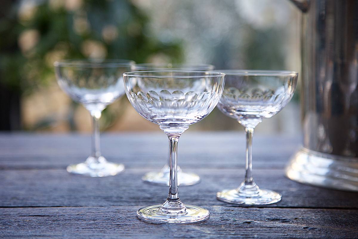 Lens Champagne Saucer,  Caro Somerset , £14 each   These beautiful champagne saucers are the perfect gift combined with a bottle.