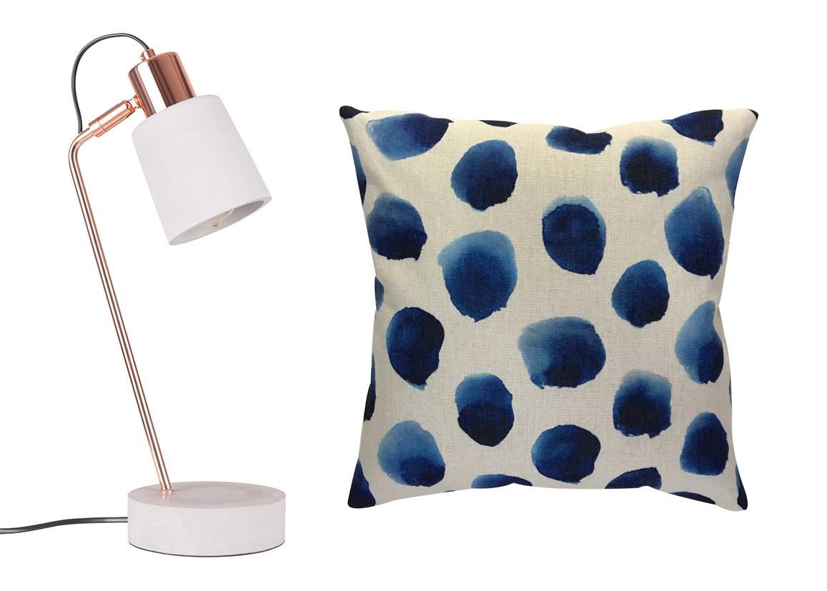 Concrete Desk Lamp , Cult Furniture, £69;  Blue dot cushion , £12.50, Wyevale Garden Centres