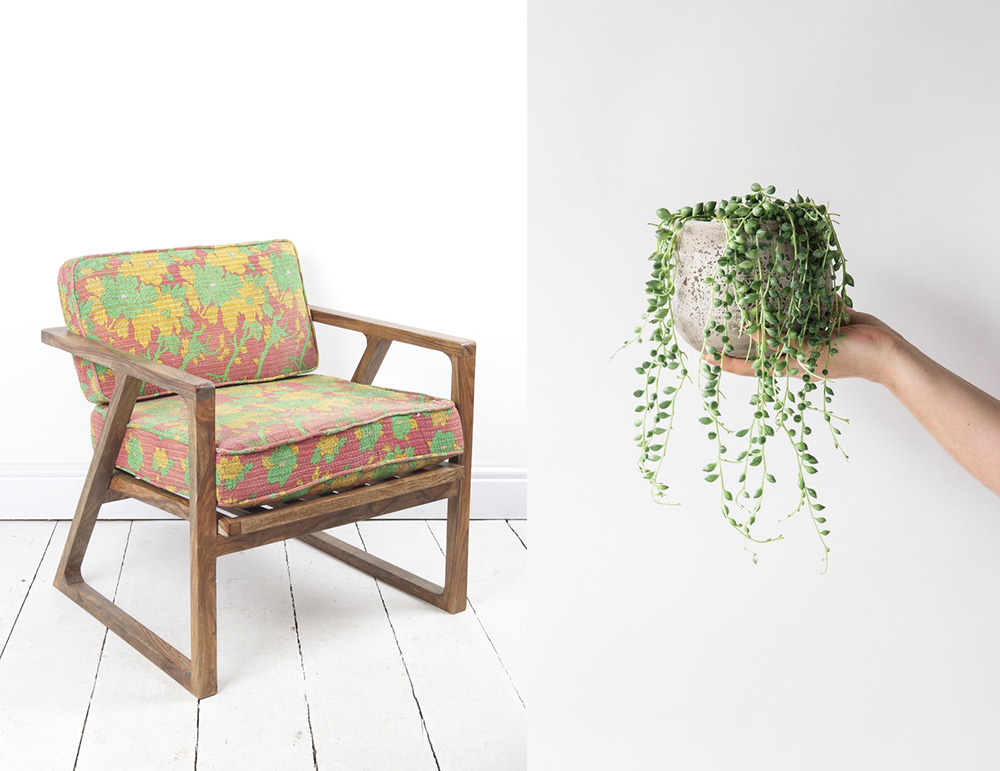 50's chair with kantha fabric , £589, Ian Snow;  String of pearls plant , £19, Forest on Trouva