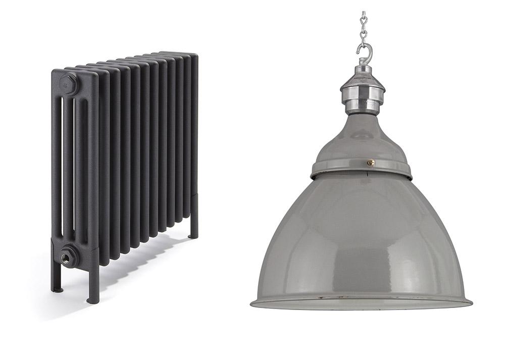 Classic radiator in black quartz , £340.80, Bisque;  Reclaimed industrial pendant light , £450, Skinflint