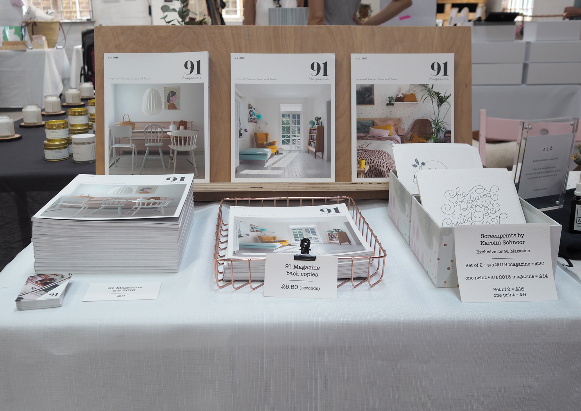and 91, of course! you may spot that we were selling some back issues of the S/S 17 issue (middle one on the stand). These are seconds - so very slightly damaged or have a small printing defect. If you are interested in one of these please drop me a line. They are reduced to £5.50, but I have limited stock.   @91magazine