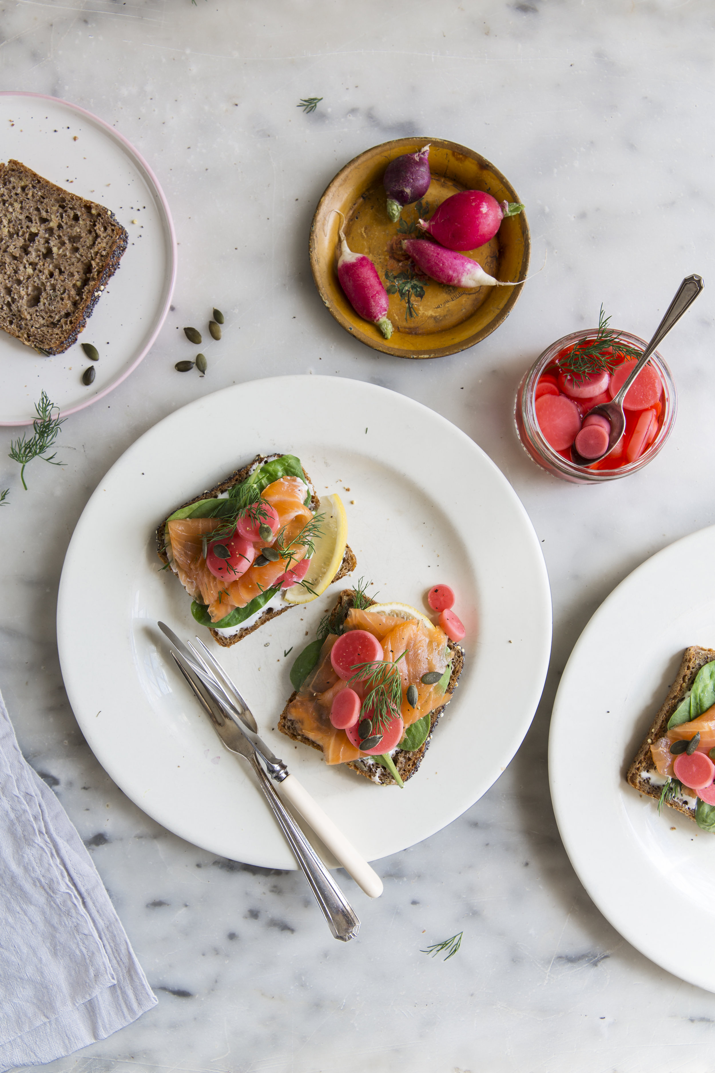 Pickled radishes on rye bread recipe