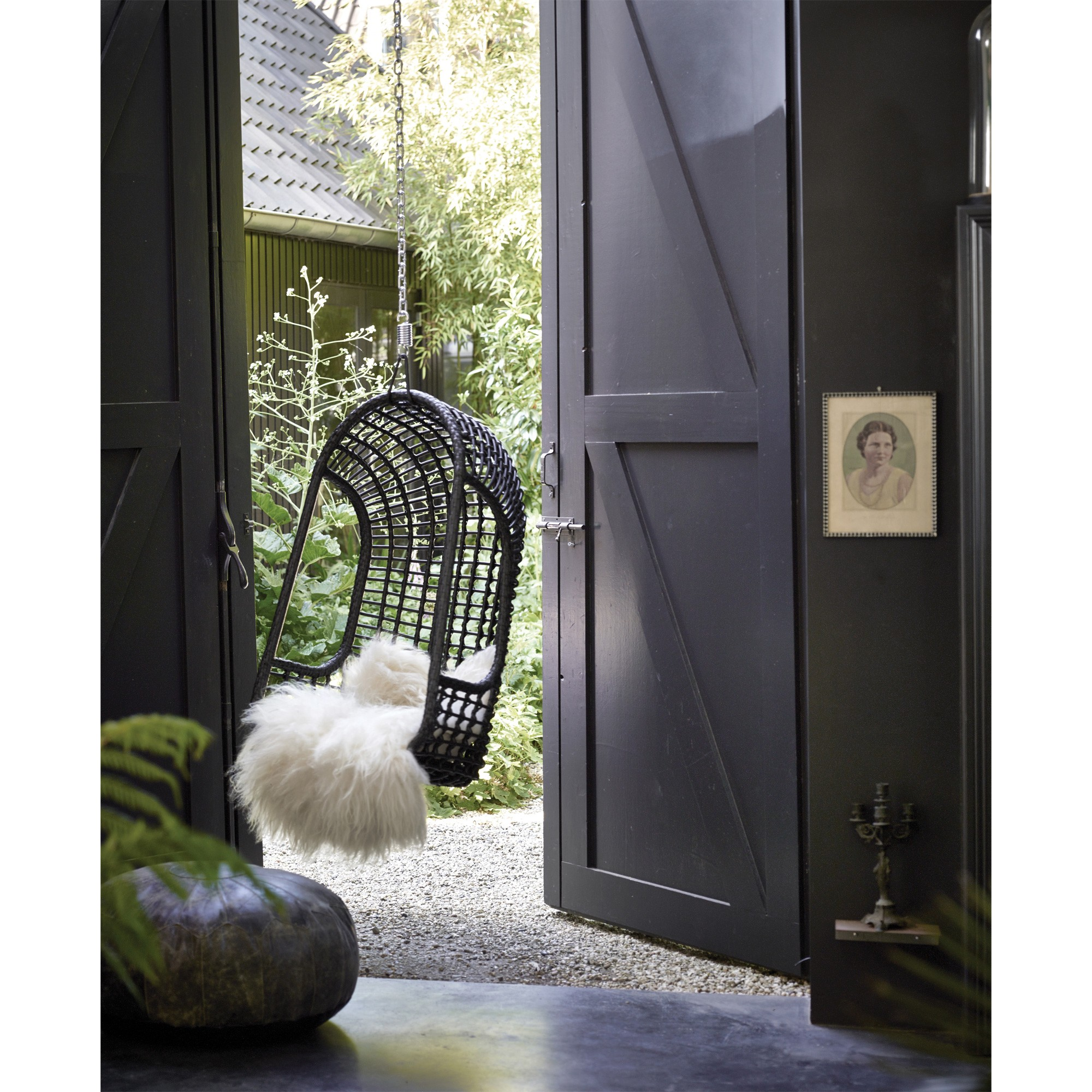 Black outdoor hanging chair , £322 - Out There Interiors