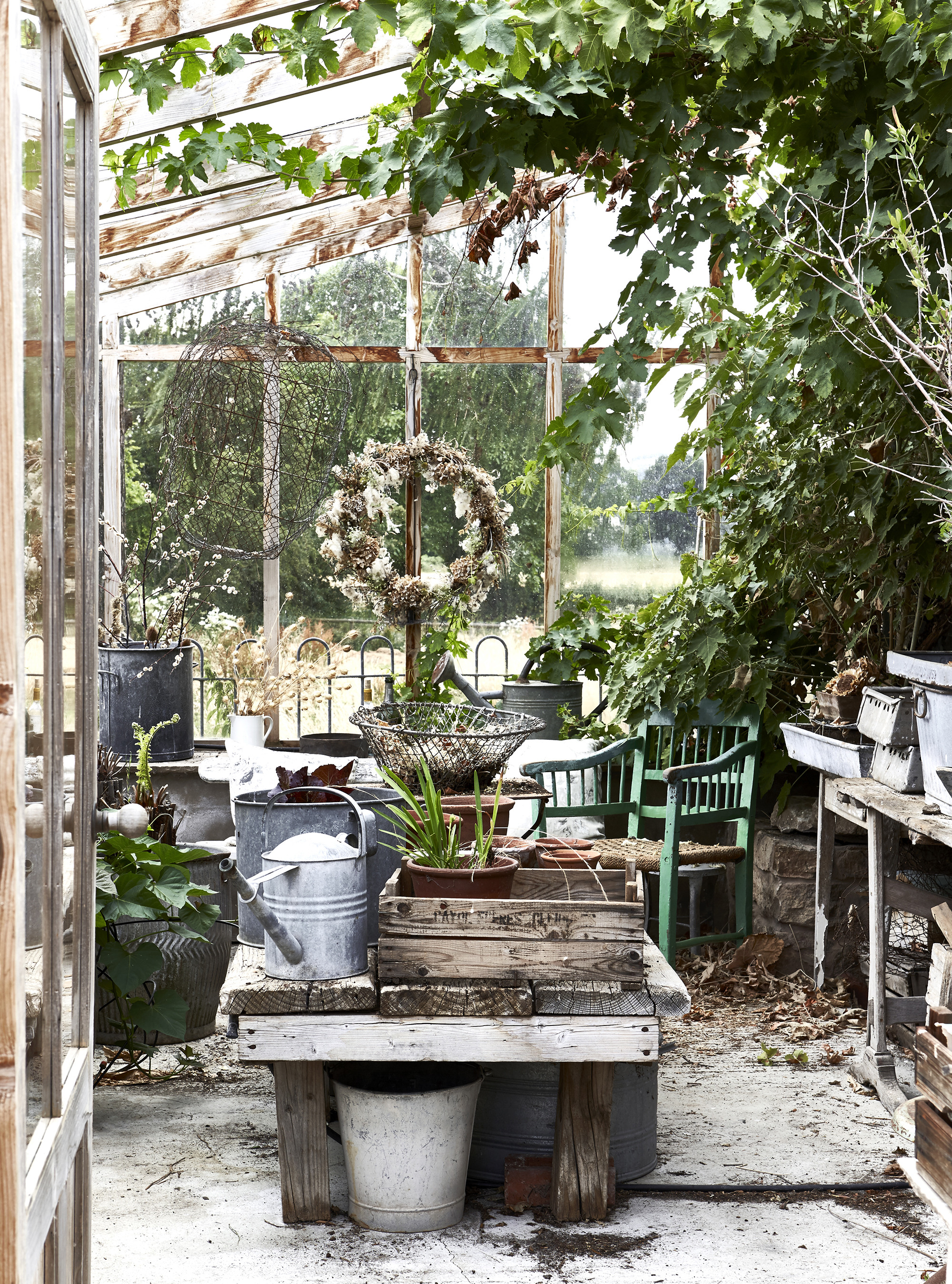 Amazing rustic vintage greenhouse featured in Natural Living Style by Selina Lake