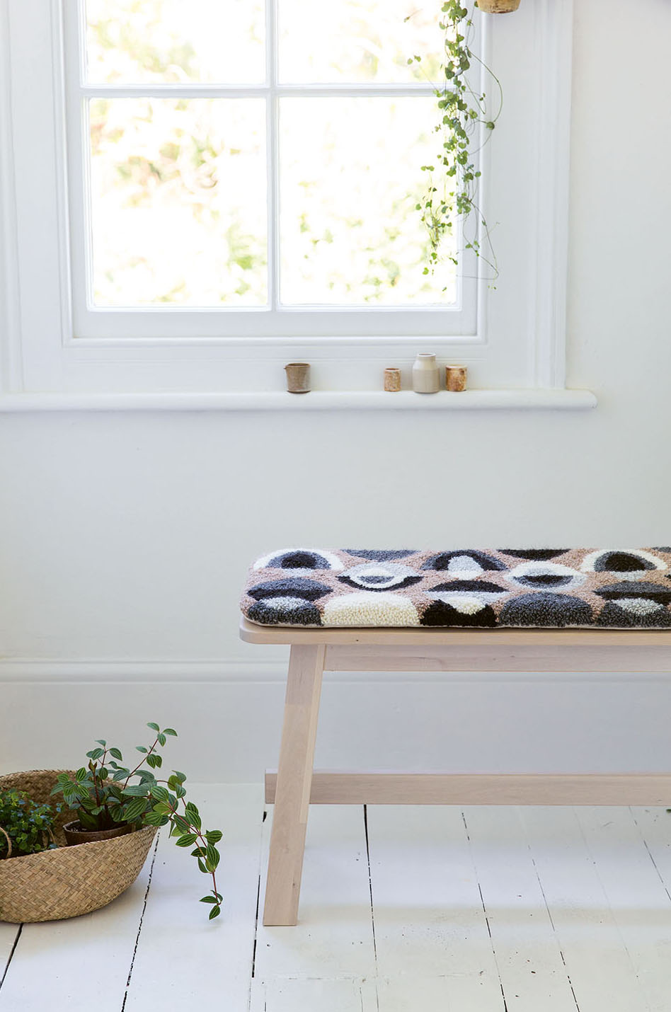 DIY punch needle bench cushion