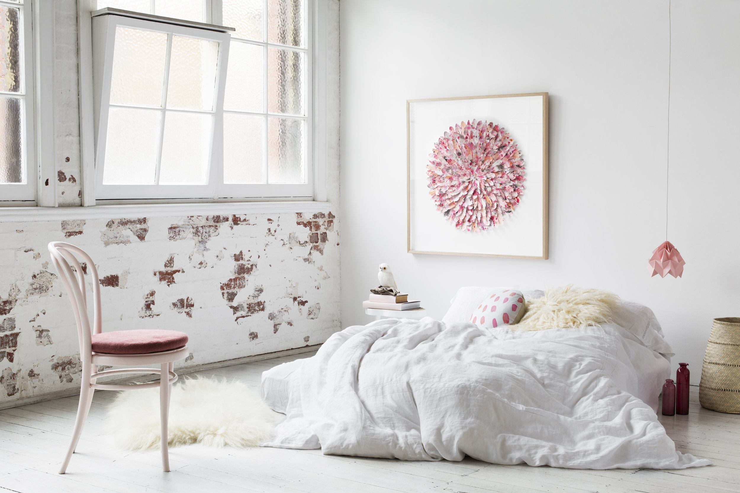 Gemmola mondocherry_pink_paper_feather_artwork_bed.jpg