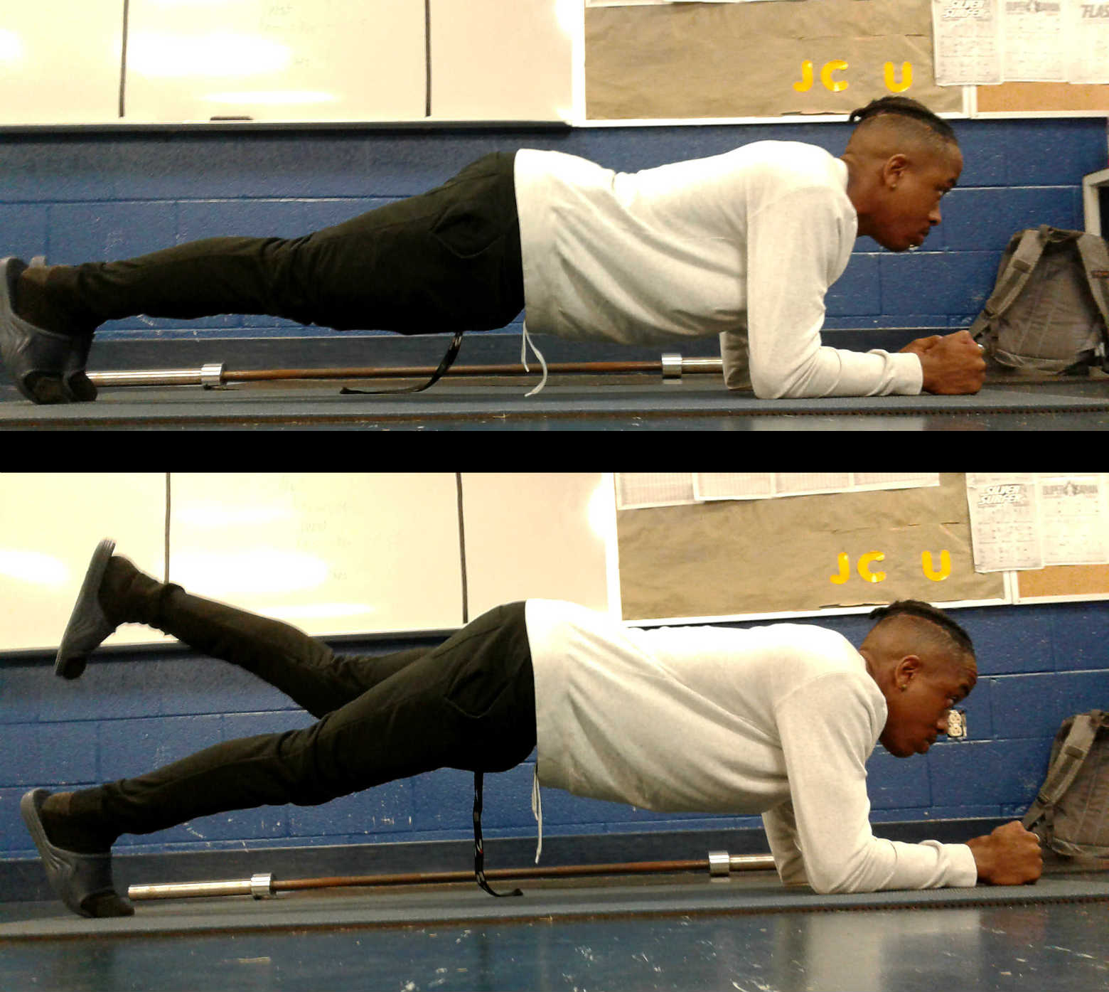 #2 Plank with hip extension    Plank with hip extension: This exercise is great for your abdominal and your glute, muscles that are critical for supporting the axial skeleton and creating that erect posture that is characteristic of tango. Position your elbows under your shoulders ( or a little bit forward if you want to increase difficulty ) then lift one heel toward the ceiling. Hold for 5 to 10 seconds then lower, repeat with opposite leg. You should also try this from a side position. ( see images)