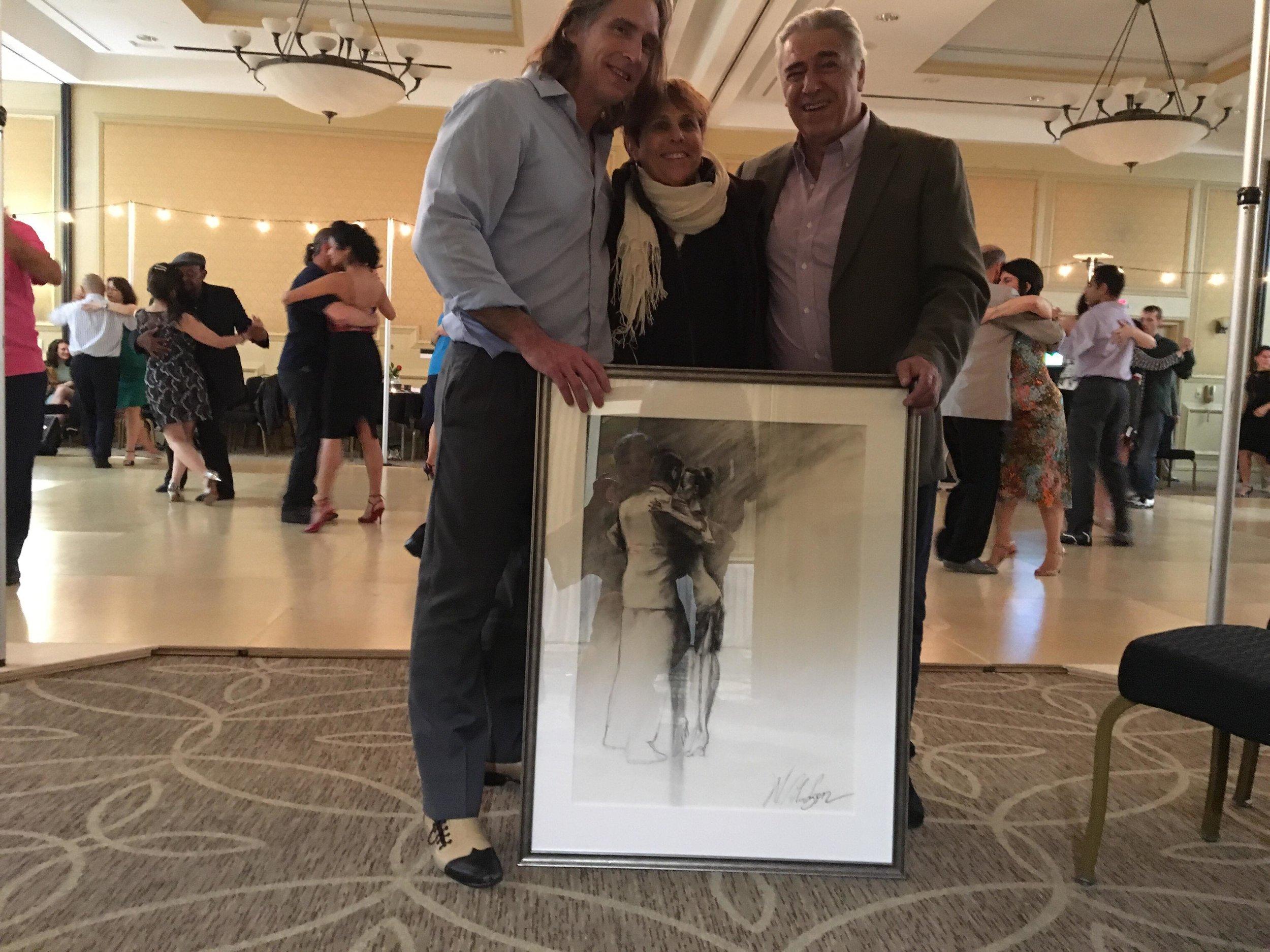 Milongueros win original tango art - W. Hudson raffles artwork at the Queen City Tango Marathon 2018