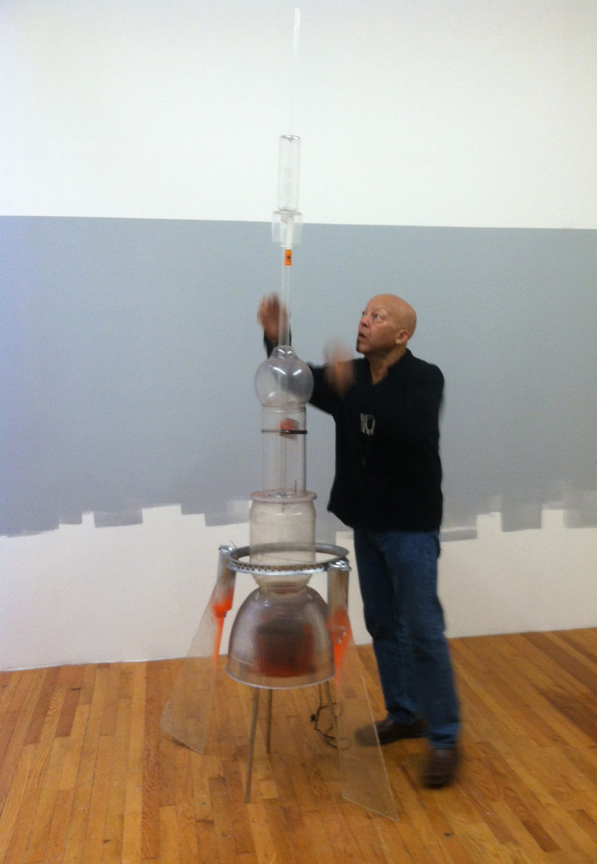 "Daniel Swanigan Snow installing ""Missile"" at Cathouse FUNeral, 2013"