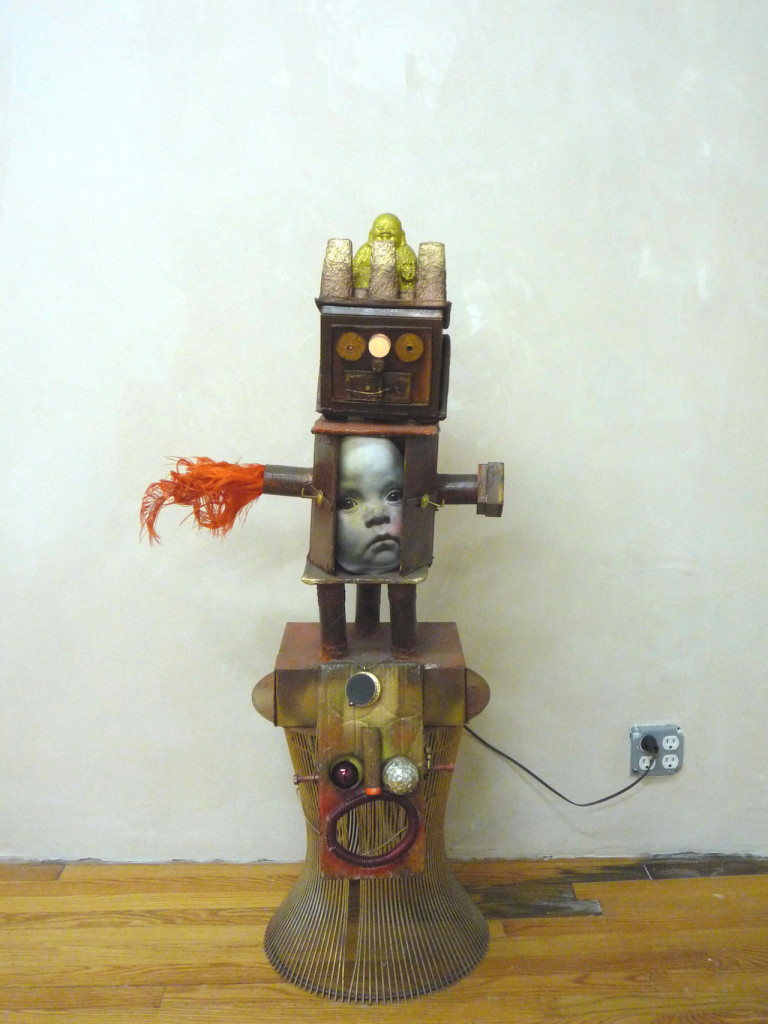 """Daniel Swanigan Snow, """"Totem III"""" (2010), mixed media, variable dimensions (photo courtesy of Cathouse FUNeral)"""