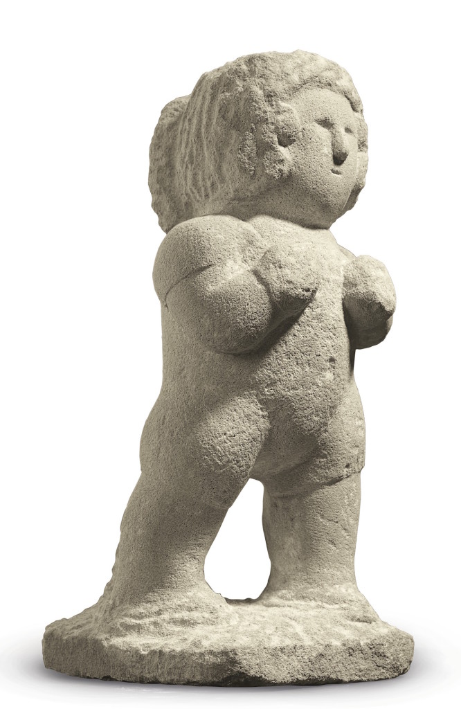 """William Edmondson, """"Boxer"""" (circa 1936), carved limestone, 17 x 7.25 x 9.25 inches. A highlight of Christie's January 22 sale in New York of outsider art, this piece's price estimate is in the $150,000-to-$250,000 range. (photo courtesy of Christie's) (click to enlarge)"""