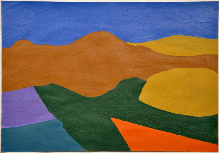 """John Bates, """"Untitled (Landscape)"""" (2009), acrylic on paper, 13.75 x 19.5 inches (photo courtesy of Fleisher/Ollman)"""