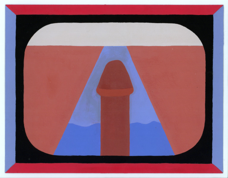 """Larry John Palsson, """"Untitled"""" (no date), acrylic on paper, 8.5 x 11 inches (photo courtesy of J. Compton Gallery)"""