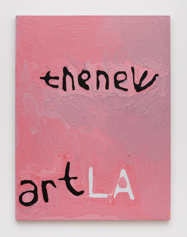 """Marlon Mullen, """"Untitled (the new art LA),"""" acrylic on canvas, 40 x 30 inches (photo courtesy of Adams and Ollman Gallery and JTT) (click to enlarge)"""