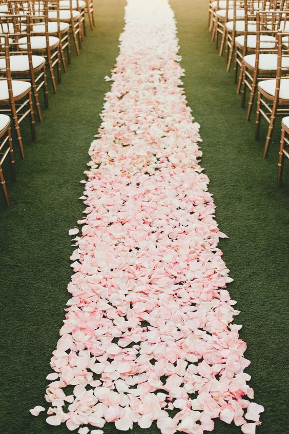Pink Petals down long aisle - Image: http://www.stylemepretty.com/california-weddings/2014/05/15/pink-and-gold-wedding-at-the-london-west-hollywood/