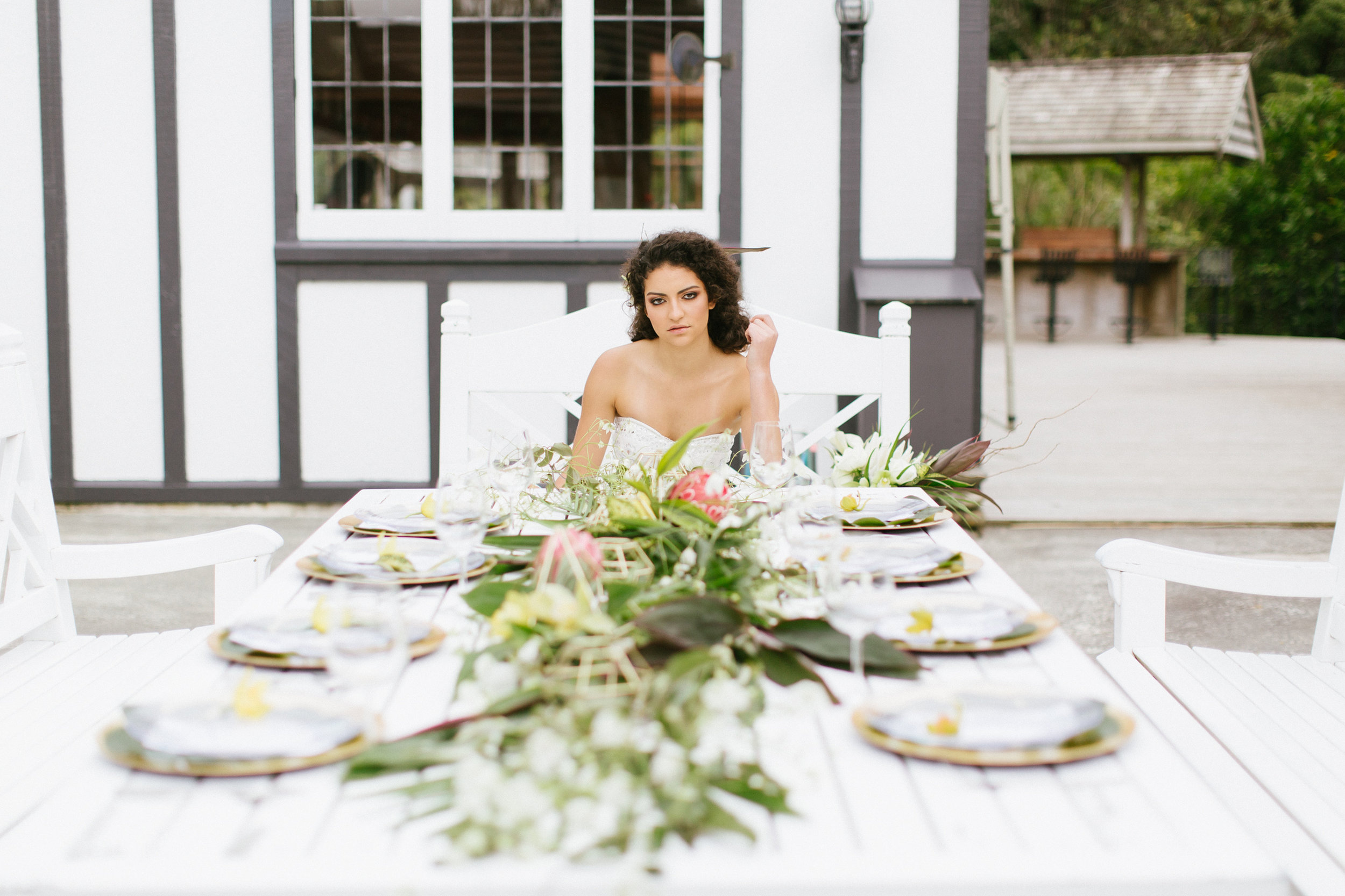 Tropical Wedding Dining Table Protea Orchids Garland Wedding Monstera Photoshoot Tablescape Bride Bouquet