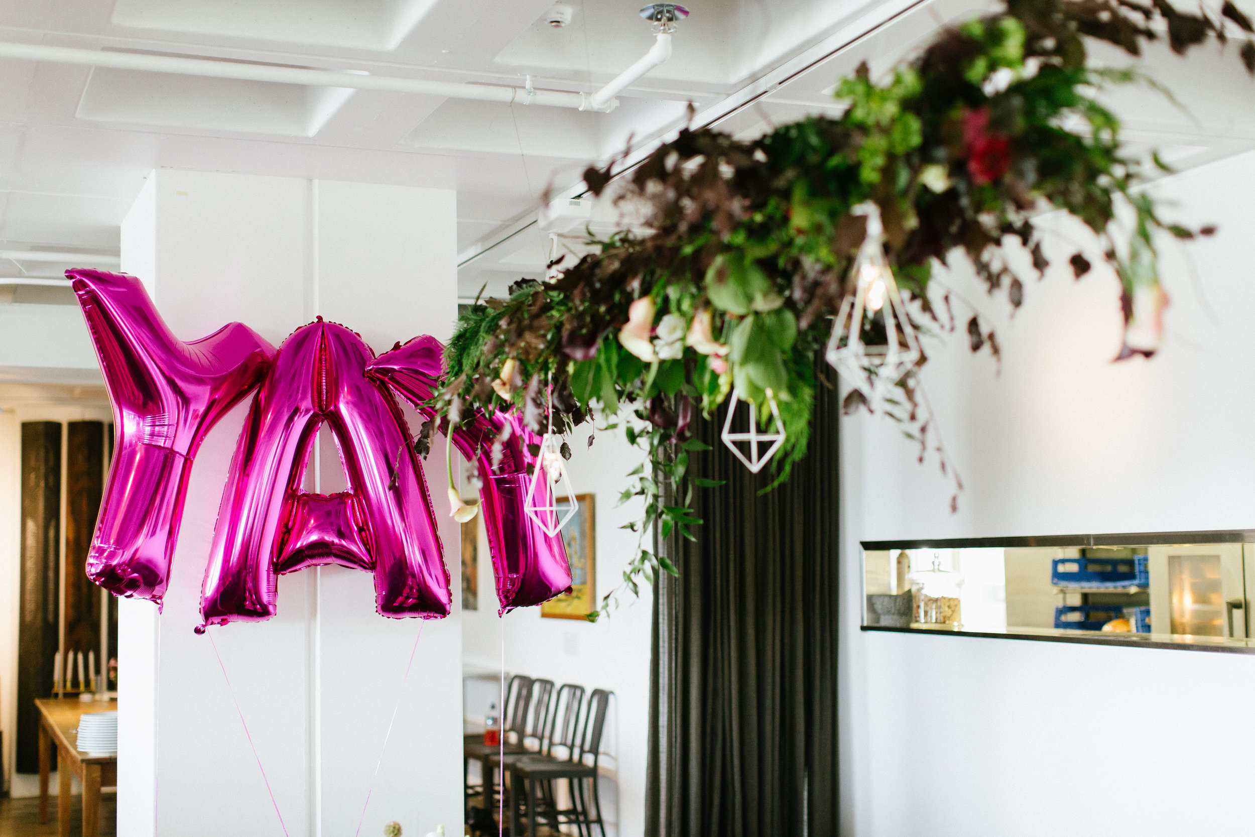 Gradulation Styled Party Peony Hanging Installation Wedding Floral Arrangements Honey and Milk Wellington Florist Event Floristy YAY Balloons Confetti Love Styling Geometric Roses