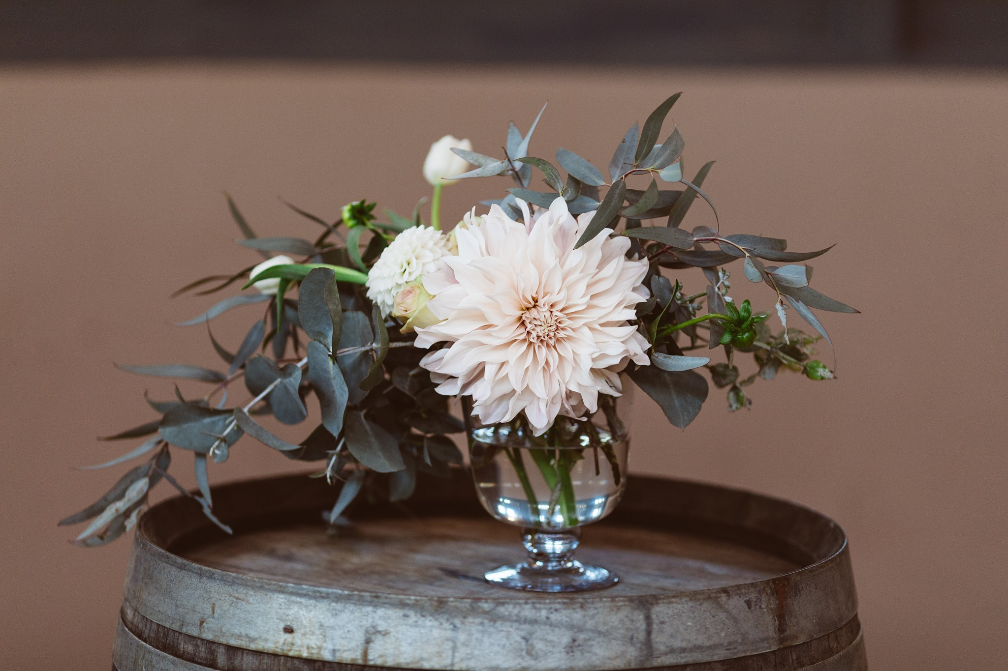 Swift and Click Wedding Photo Centrepiece Dahlia Rose Eucalptus Wedding Day Flowers Florist Wellington