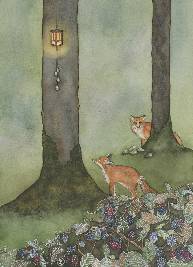 Foxes by Lamplight