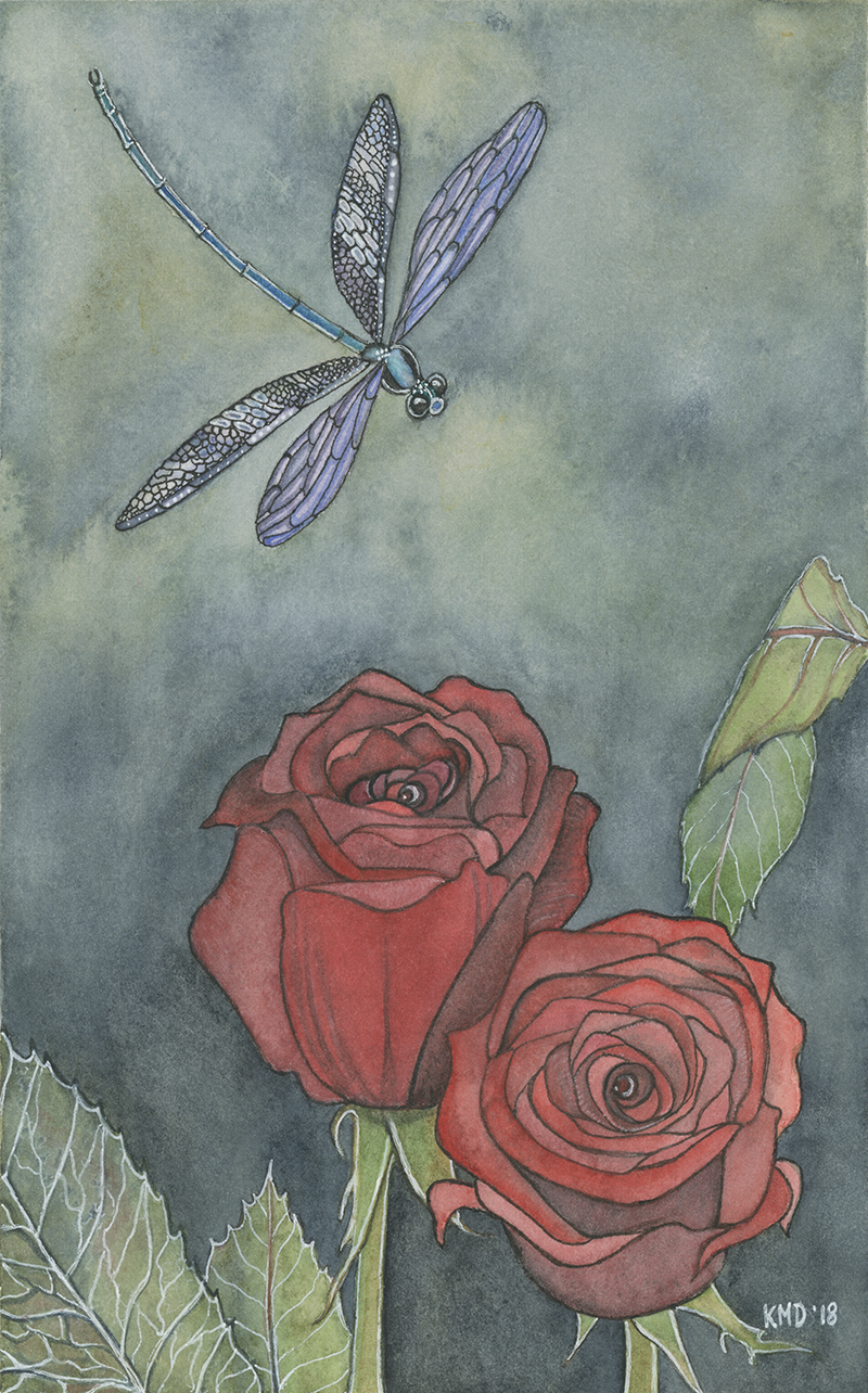Roses with Dragonfly
