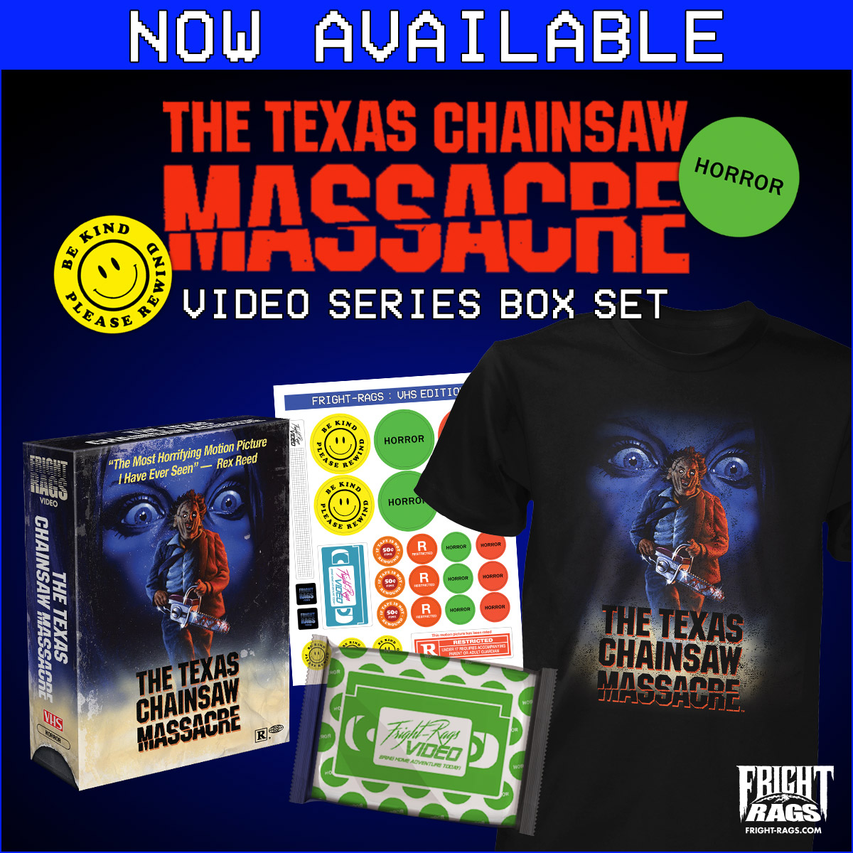 The Texas Chainsaw Massacre box set features the design on an exclusively T-shirt and a collector's box, plus a sheet of VHS stickers and custom microwavable popcorn. It's limited to 300 sets. Hoodies, baseball tees, and ringer tees featuring the artwork are available separately.