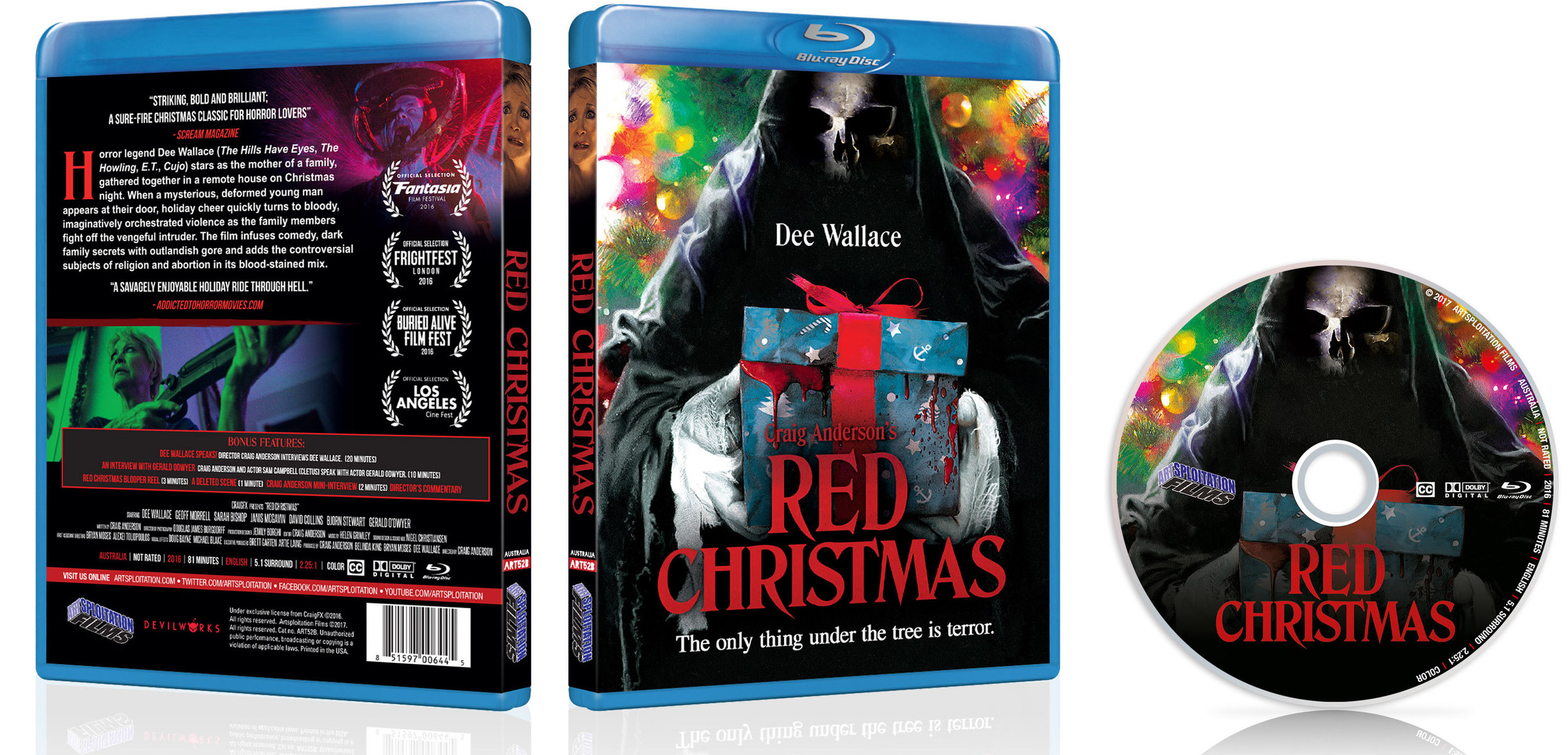 The Blu-ray (SRP $22.99) and DVD (SRP $17.99) releases of  Red Christmas will exclusively include a feature-length commentary with writer-director Craig Anderson, interviews with Dee Wallace, Gerald Odwyer and Craig Anderson, bloopers and more.