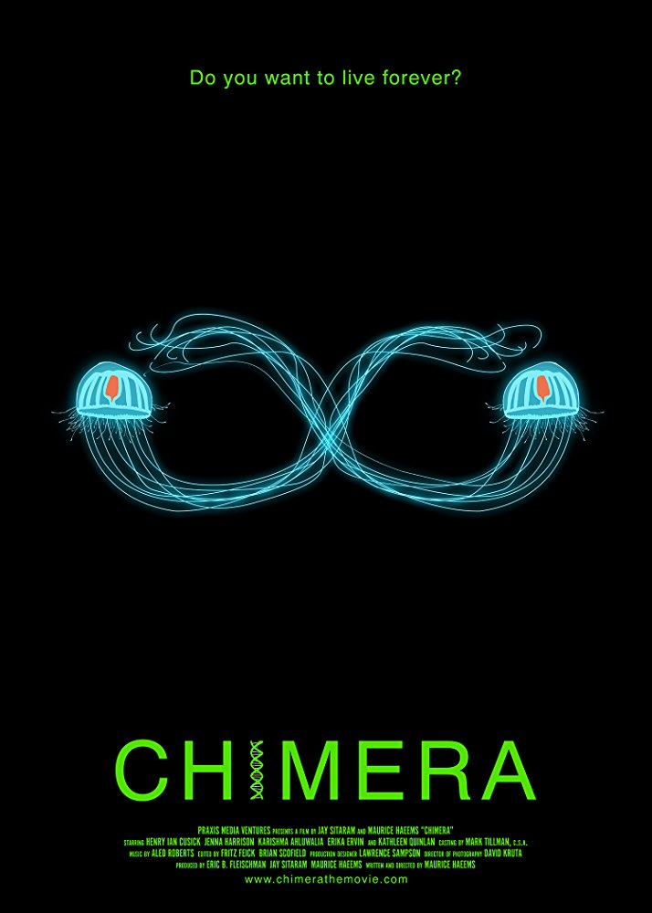 Chimera  is the story of Dr. Quint, a brilliant but disturbed scientist who must freeze his children alive in order to arrest the progression of their deadly genetic disease, while he races against time to cure them by unlocking the secrets of immortality encoded within the DNA of the Turritopsis jellyfish.
