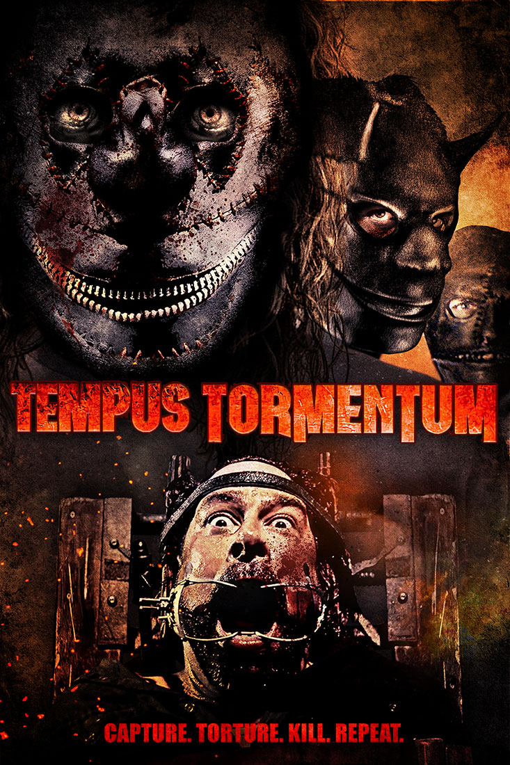 PRESS RELEASE - Los Angeles, CA (April 13th, 2018) - Terror Films is set to release James Rewucki's, Tempus Tormentum onto Digital platforms this Tuesday, April 17.  The genre distributor is unveiling the official poster and trailer, prior to the film's chilling release, right here. The film was written and directed by James Rewucki and produced by Absurd Machine Films. Tempus Tormentum stars Tyhr Trubiak as Mr. Mouse, an unlucky drifter who happens to become the prey of three masked psychopaths. The psychopaths are named: Clown (Dr. Rage), Devil (Darren Johnston), and Slashmouth (Paul McWhinney). After drugging and abducting their victim, the trio use a combination of psychological and physical torture to drive Mr. Mouse mad, kill him or both. Tempus Tormentum features award winning cinematography and sound design and has played at multiple festivals. A selection of film festivals Tempus Tormentum has played at include FEARnyc (2017). Here, it won Best Lighting Design and was nominated for Jury Prize Best Feature and Best Actor. At the Tampa Bay Underground Film Festival (2017), the film was nominated for Best Feature, Best Director, Best Horror and Best Production Design. The film also showed at the Amarcord Chicago Arthouse Film Awards (2017) and the Hamilton Film Festival CA (2017). In total, the film has been nominated for or won at least ten awards - during its year long festival run. In their ongoing effort to bring the best and most diverse indie horror content to the masses, Terror Films will be releasing the film in North American markets across multiple Digital platforms. The Digital release will begin with: Amazon Prime Video, iTunes, Vudu, Google Play and XBox Live. This release will be followed by additional platforms (to be announced) and a DVD release, at a later date.  More details on the film: http://tempustormentum.com/site/ For more information on Terror Films, visit: http://www.terrorfilms.net/films And here: https://www.facebook.com/TerrorFilmsLLC/