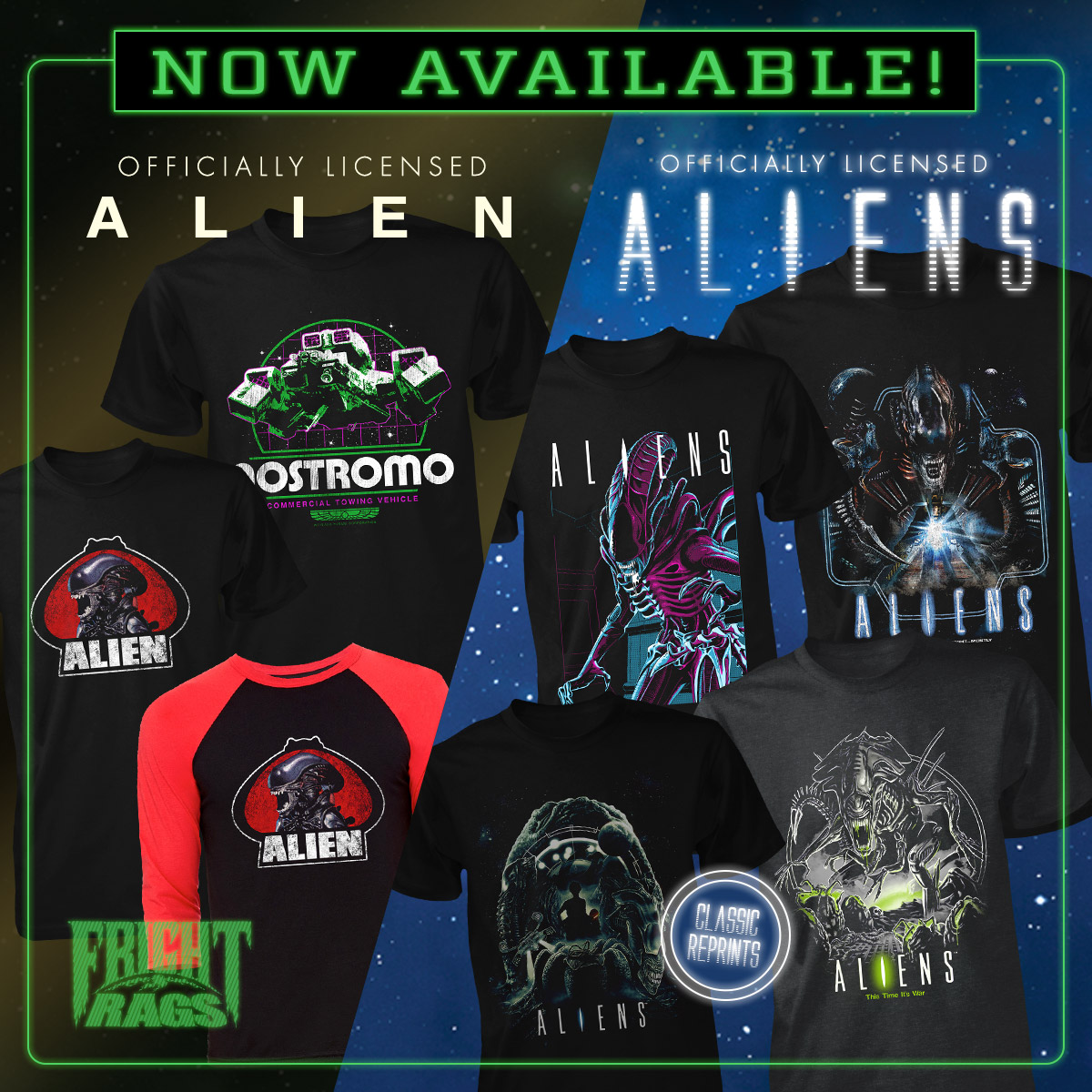 Get ready to party with Return of the Living Dead, Alien, Aliens, & Sleepaway Camp 2 shirtsAvailable now at Fright-Rags.com -