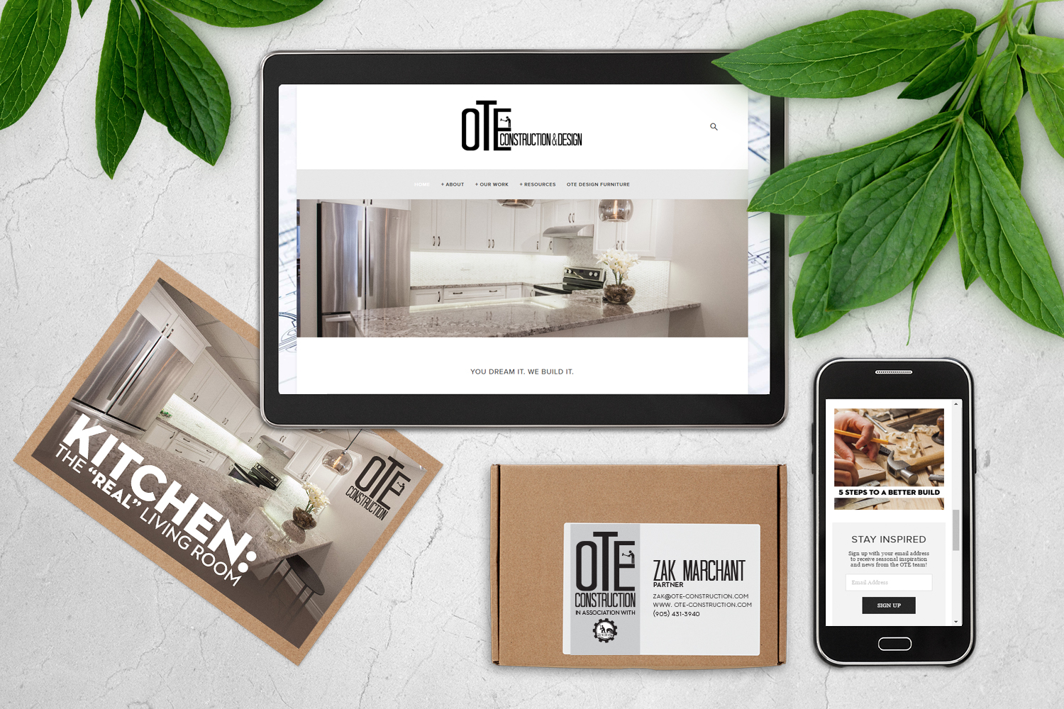 OTE CONSTRUCTION & DESIGN  From initial logo creation for a small design firm to a fully successful construction and design company;Marchant Image has provided complete marketing solutions and design collateral for online and print based marketing. We are responsible for all social media outlets, web design, SEO, online advertising and special event marketing for this spectacular company!   WEBSITE - FACEBOOK - INSTAGRAM - PINTEREST
