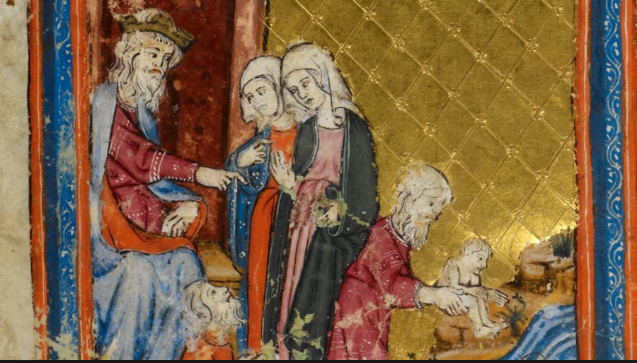 """""""Pharaoh and the Midwives,"""" from the Golden Haggadah, Catalonia, early 14th century. (British Library)  via"""